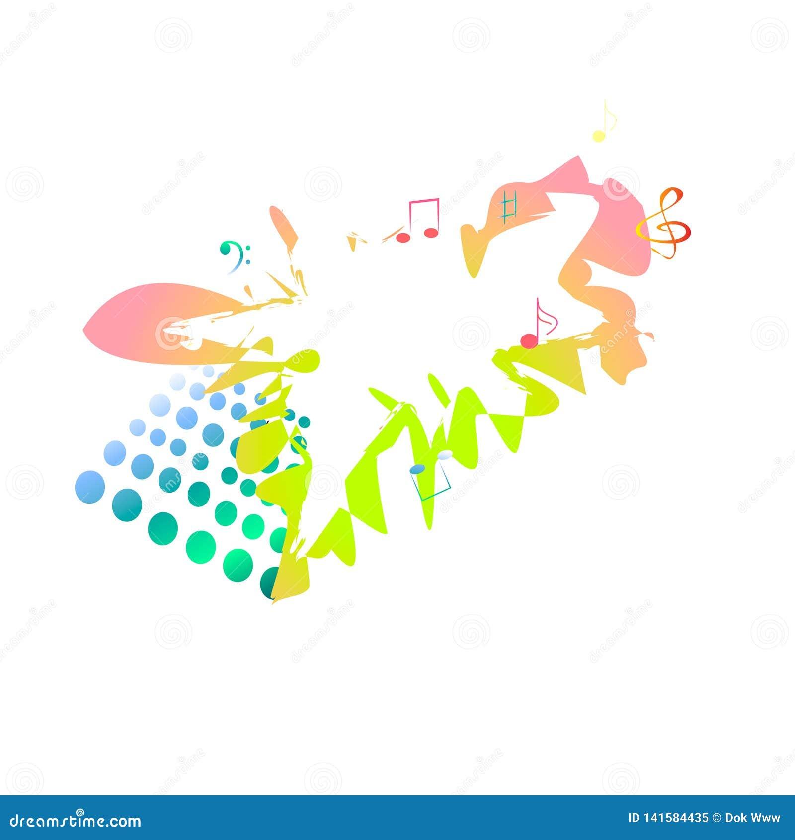 Musikalische Fahne mehrfarbig mit Anmerkungen