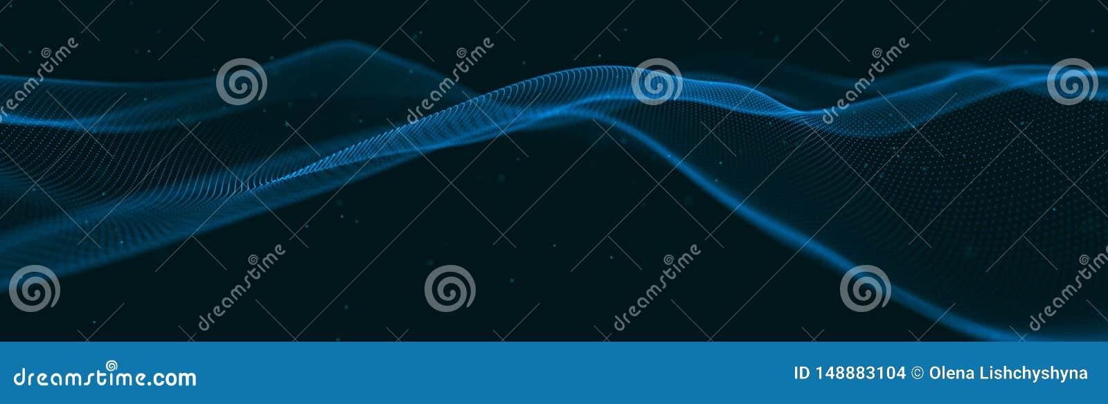 Musikalische Welle von Partikeln Solide strukturelle Verbindungen Abstrakter Hintergrund mit einer Welle von leuchtenden Partikel