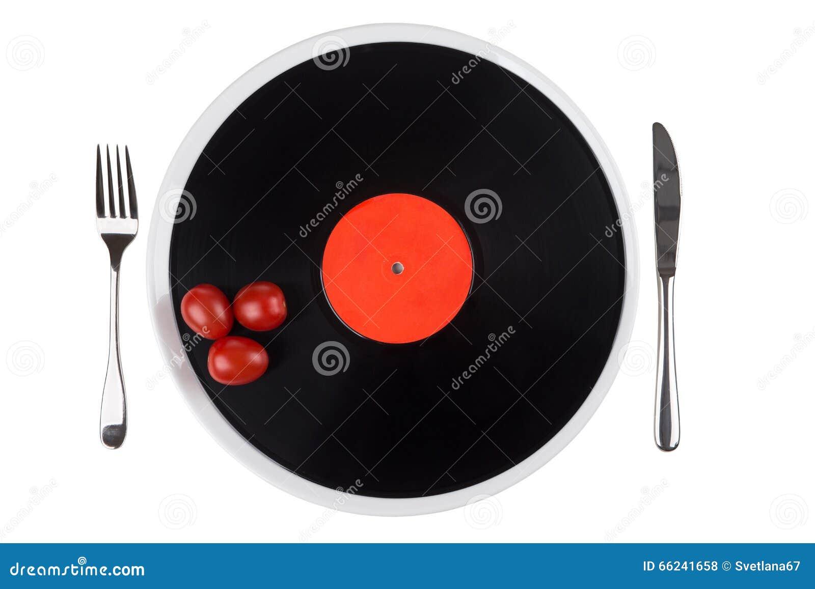 Musikalisk platta på en platta