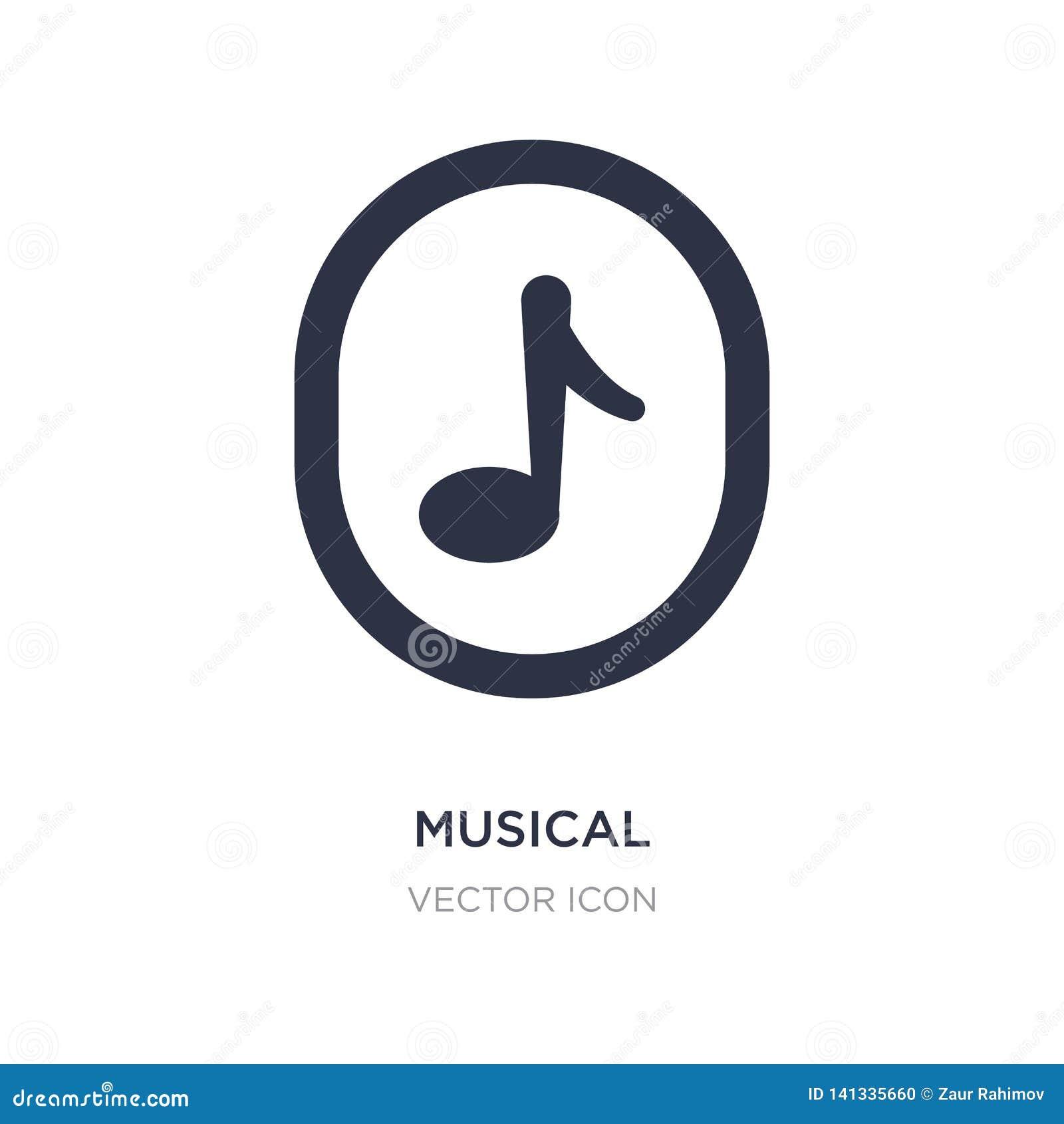 Musikalisk symbol på vit bakgrund Enkel beståndsdelillustration från UI-begrepp