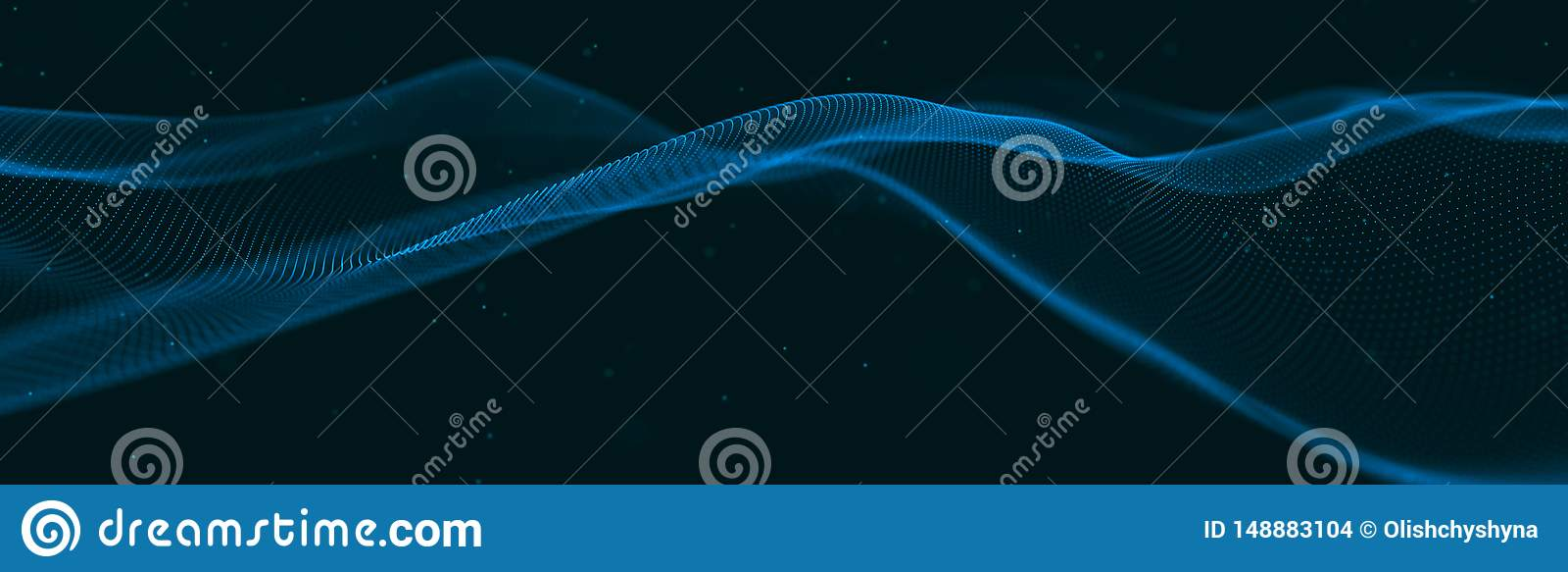 Musikalisk v?g av partiklar Solida strukturella anslutningar Abstrakt bakgrund med en v?g av lysande partiklar V?g 3d