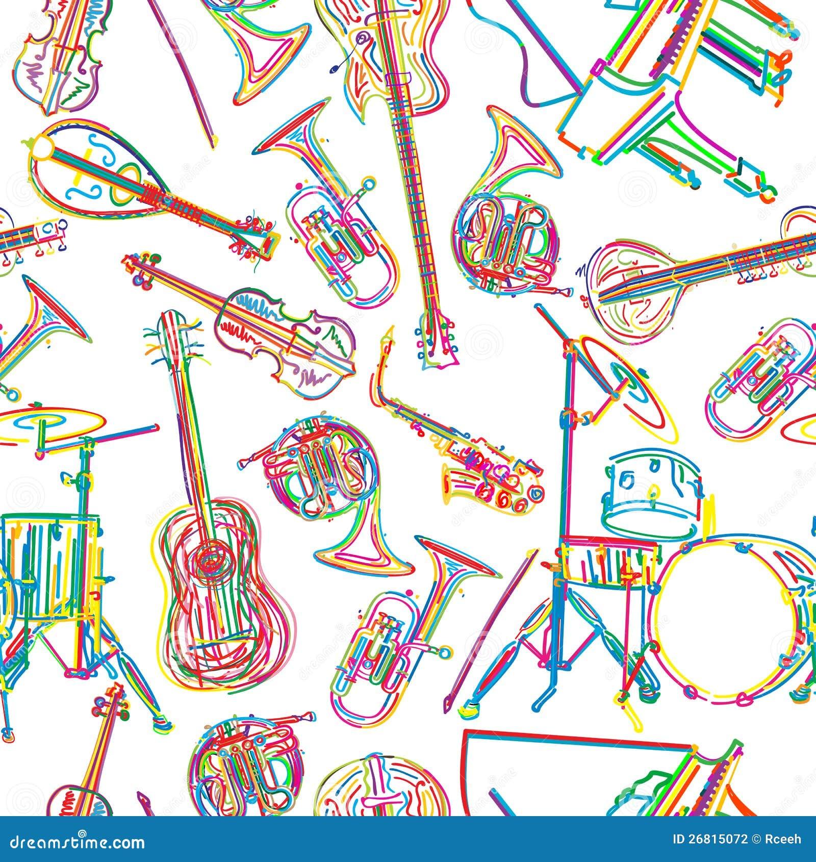 Musikaliska instrument skissar