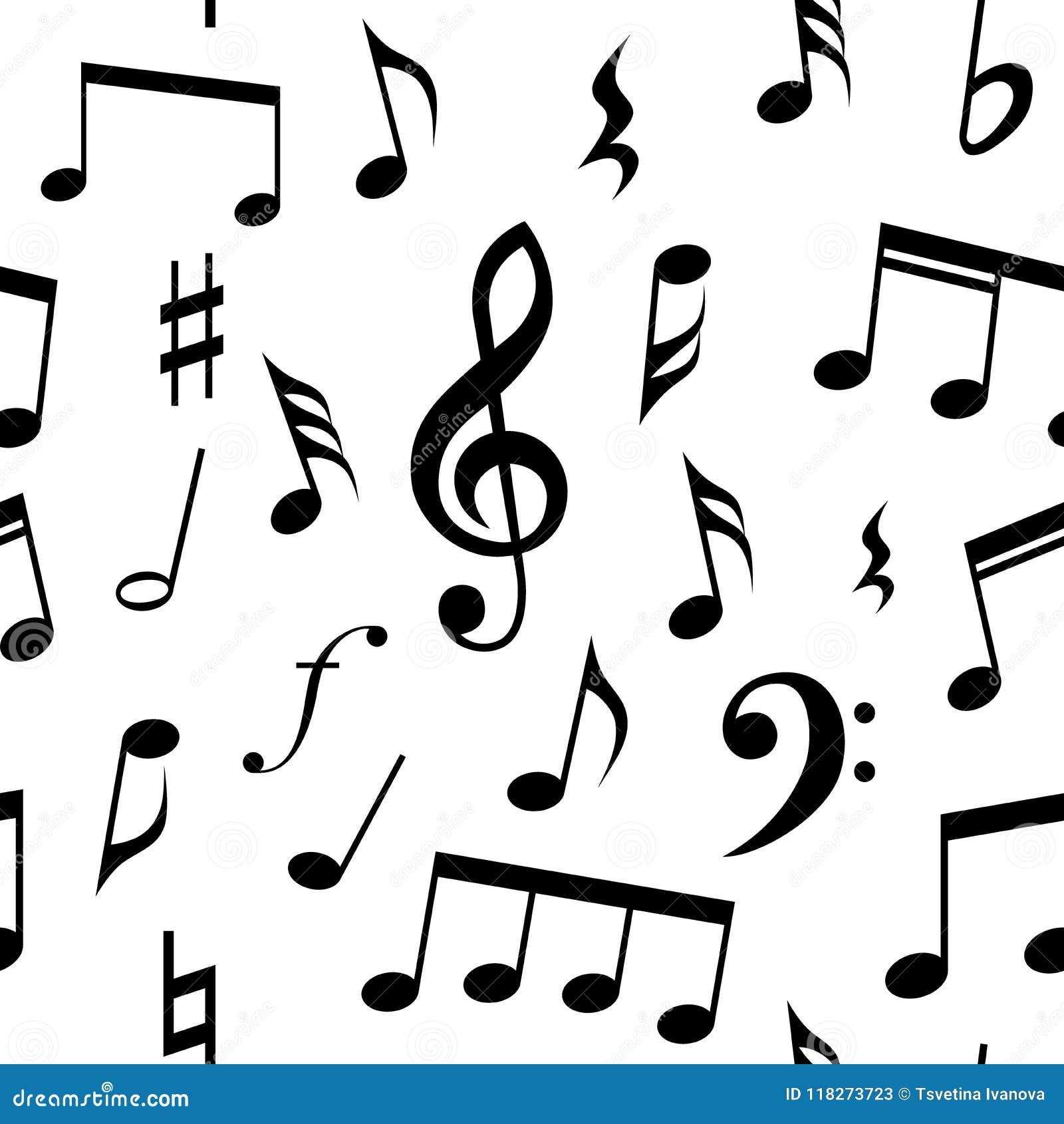 Musikanmerkungen und nahtloses Musterdesign der Symbole Völlig editable Fülle- und Hintergrundfarbe