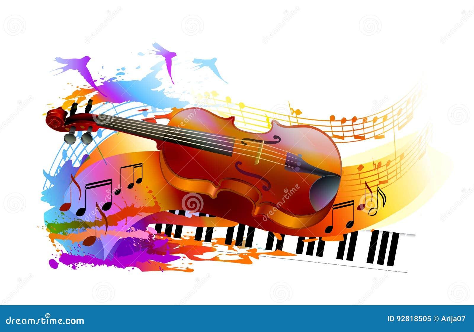Musikbakgrund med fiolen och pianot