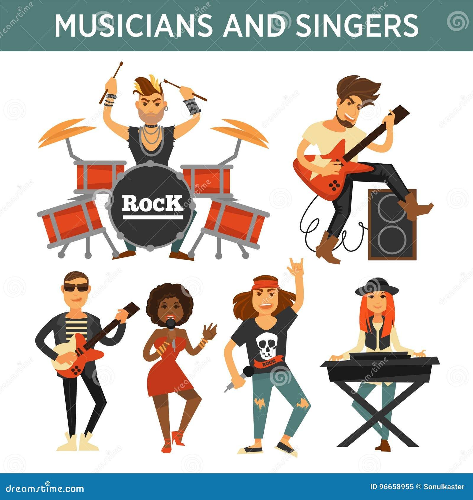Musikbandsänger, Musiker und Musikinstrumente vector flache Ikonen