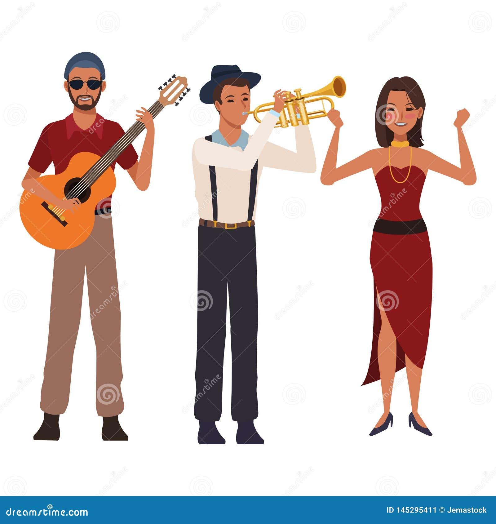 Musiker, der Gitarrentrompete und -tanzen spielt