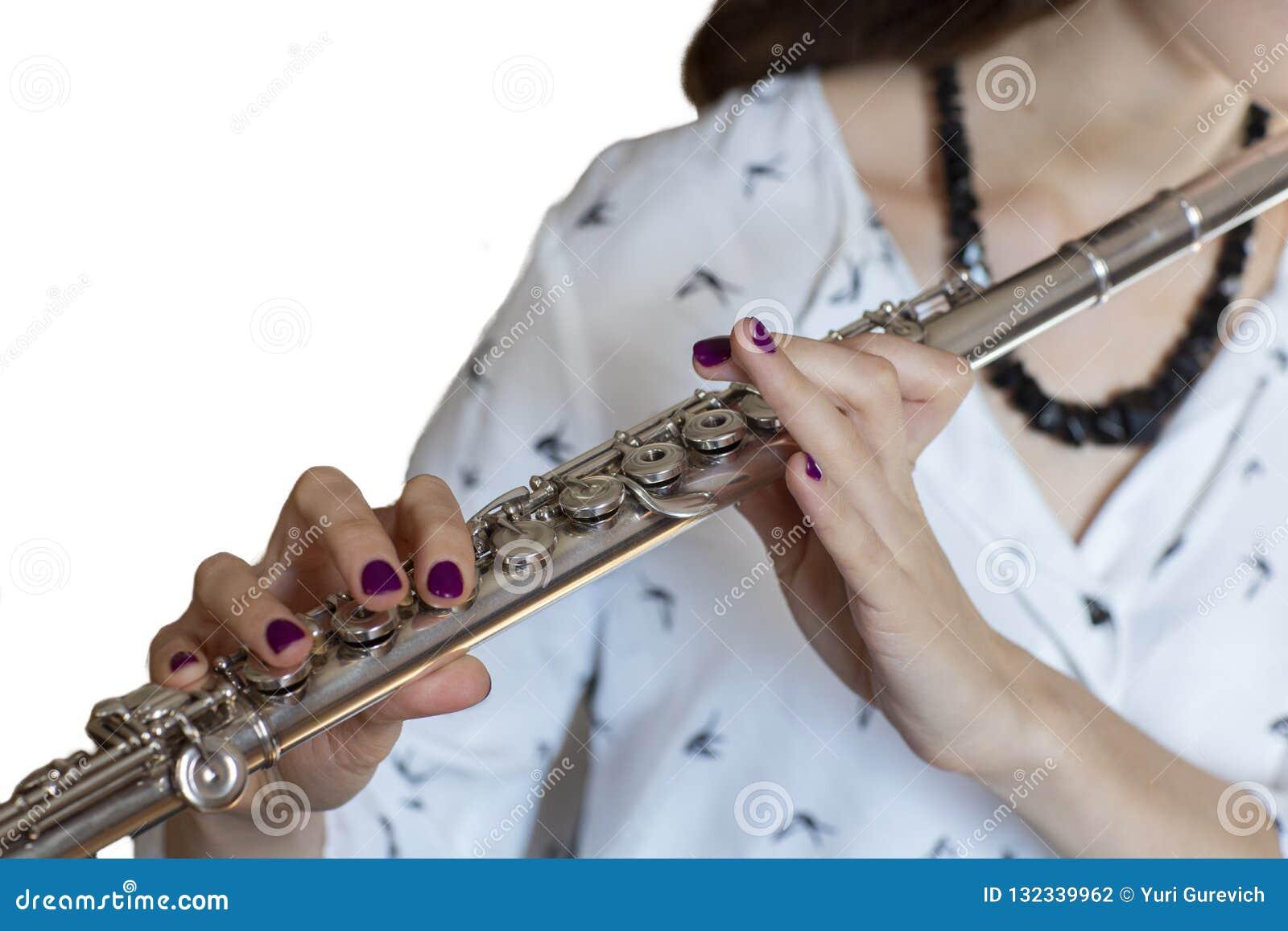 Musikerflöjtisten Girl Flute Player isolerade bild