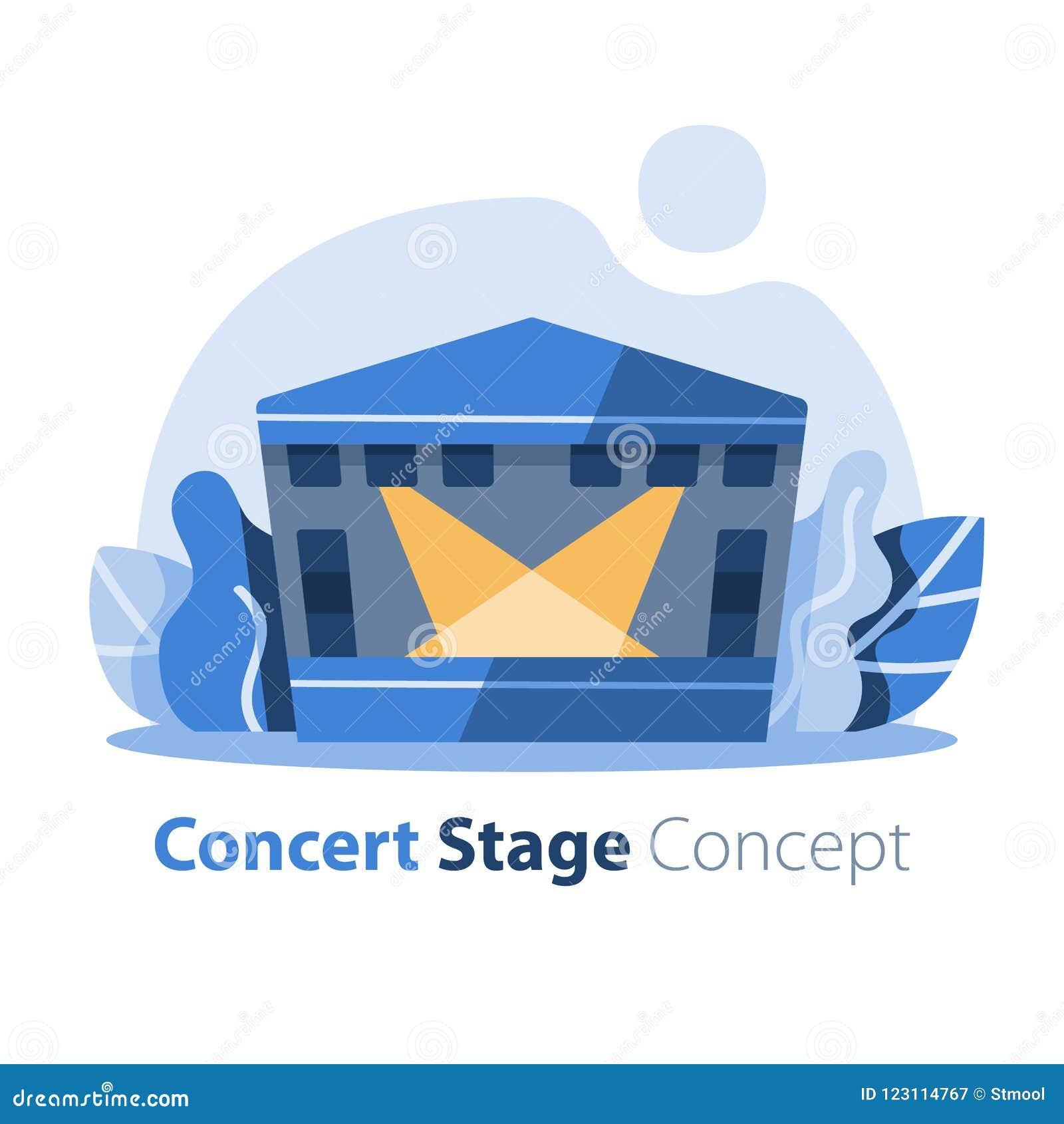 Musikfestival, utomhus- konsertetapp med det gavelförsedda taket, underhållningkapacitet, festlig händelseordning