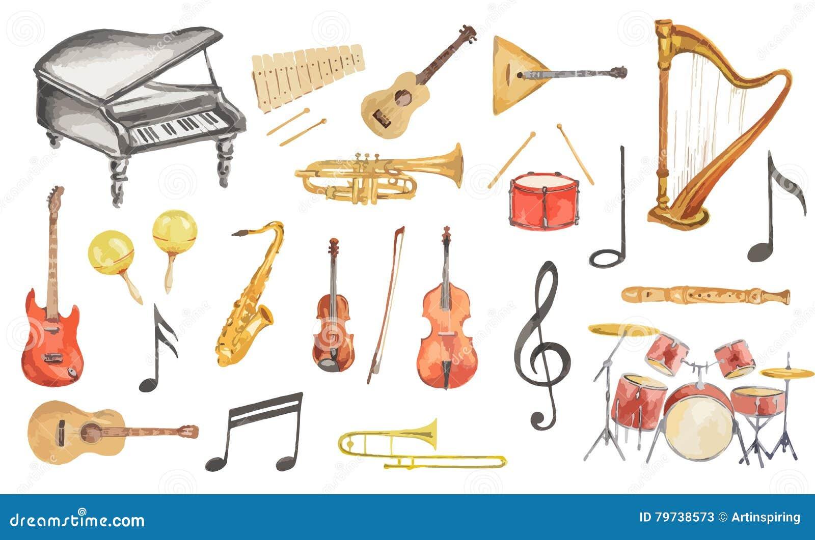 musikinstrumente des aquarells eingestellt vektor abbildung illustration von musik konzert. Black Bedroom Furniture Sets. Home Design Ideas