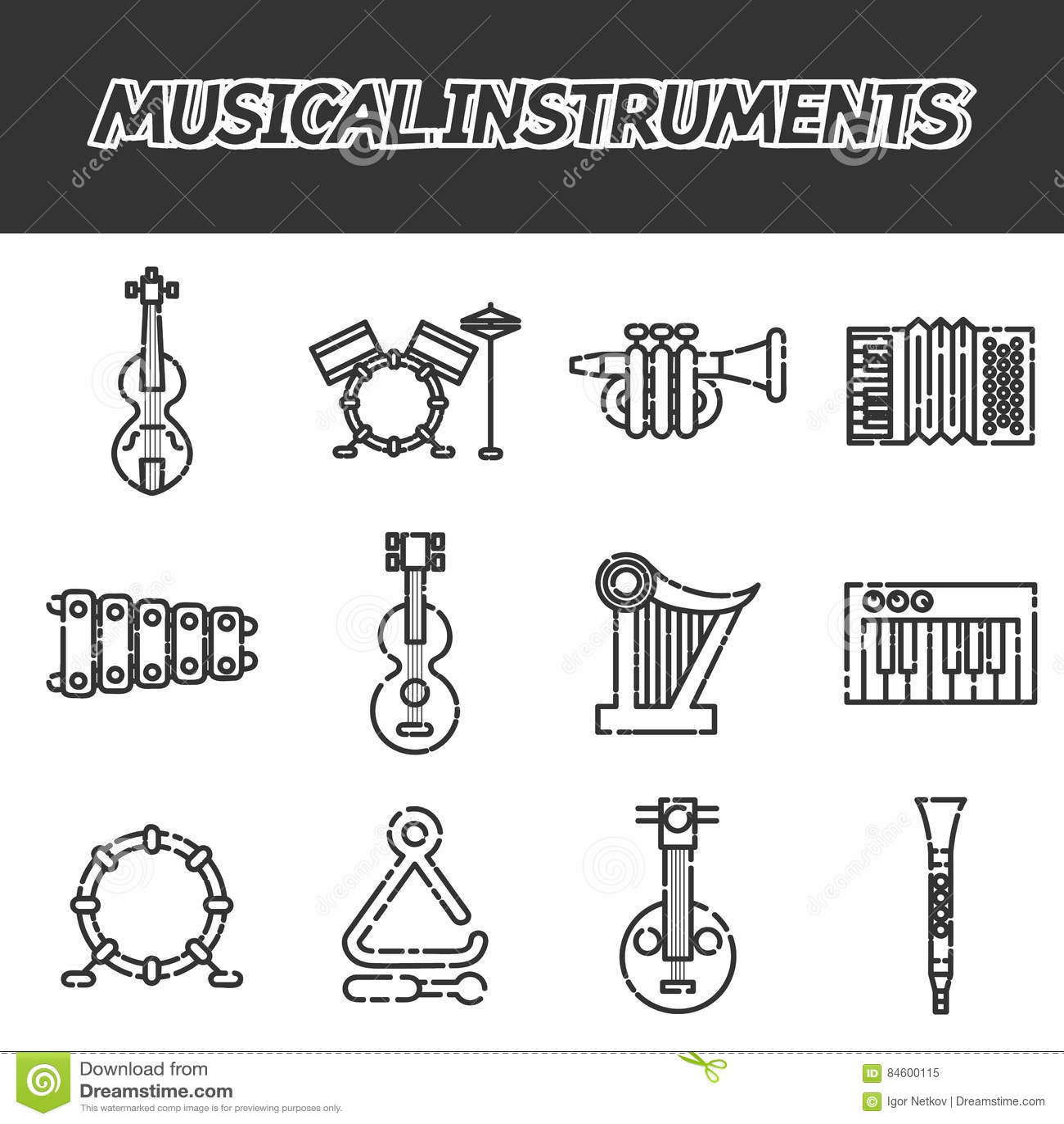 Musikinstrumentsymbolsuppsättning