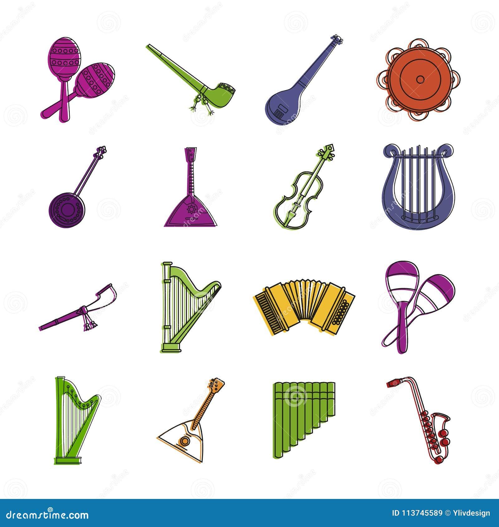 Musikinstrumentsymbolsuppsättning, färgöversiktsstil