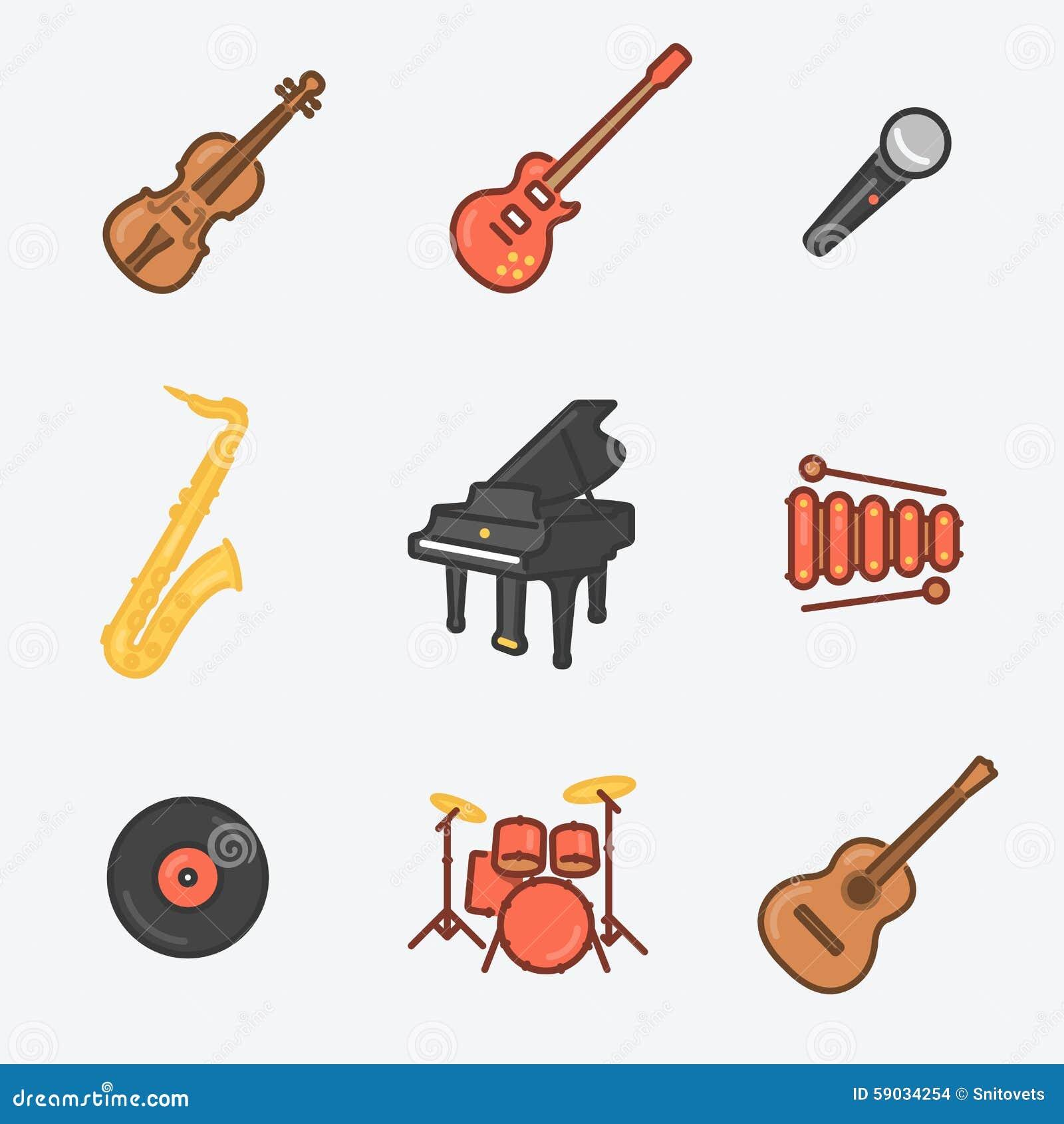 Musikinstrumentsymbolsuppsättning (fiolen, den elektriska gitarren, Mic, saxofonen, kungliga personen, xylofonen, vaxet, valsar,