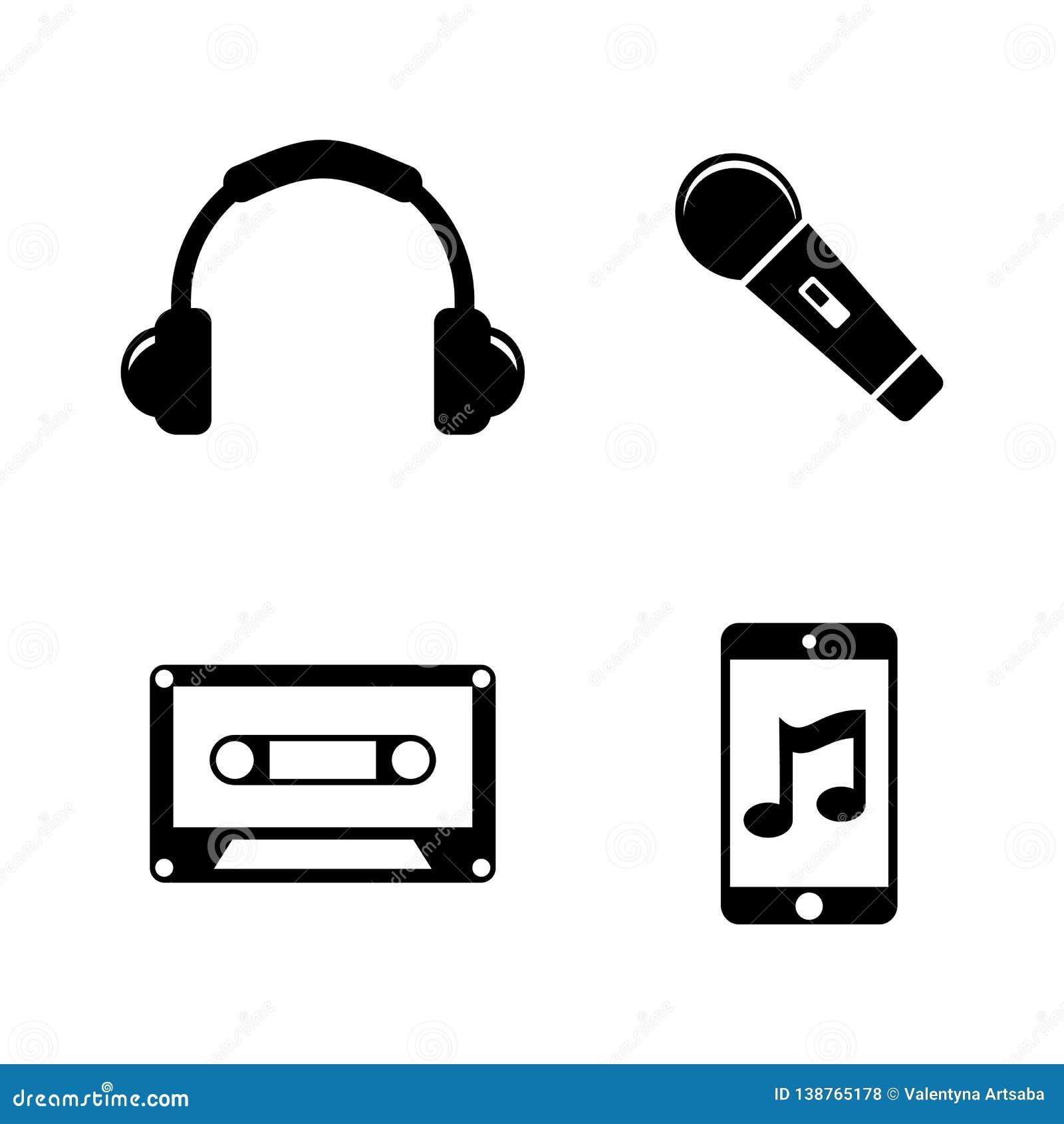 Musique, bruit, audio Icônes relatives simples de vecteur
