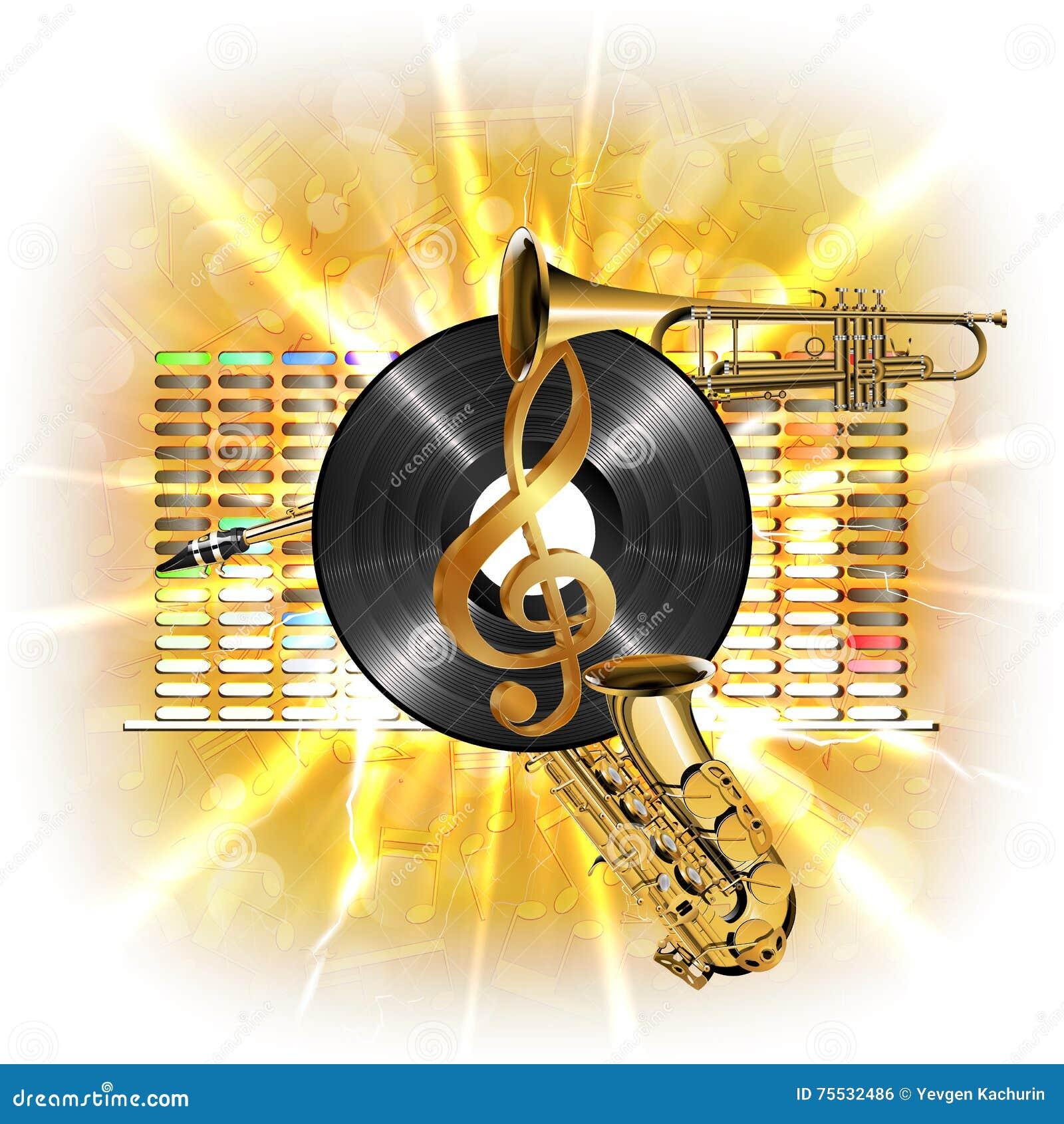 Musique Dans L éclair La Clef Triple Le Saxo De Vinyle Et