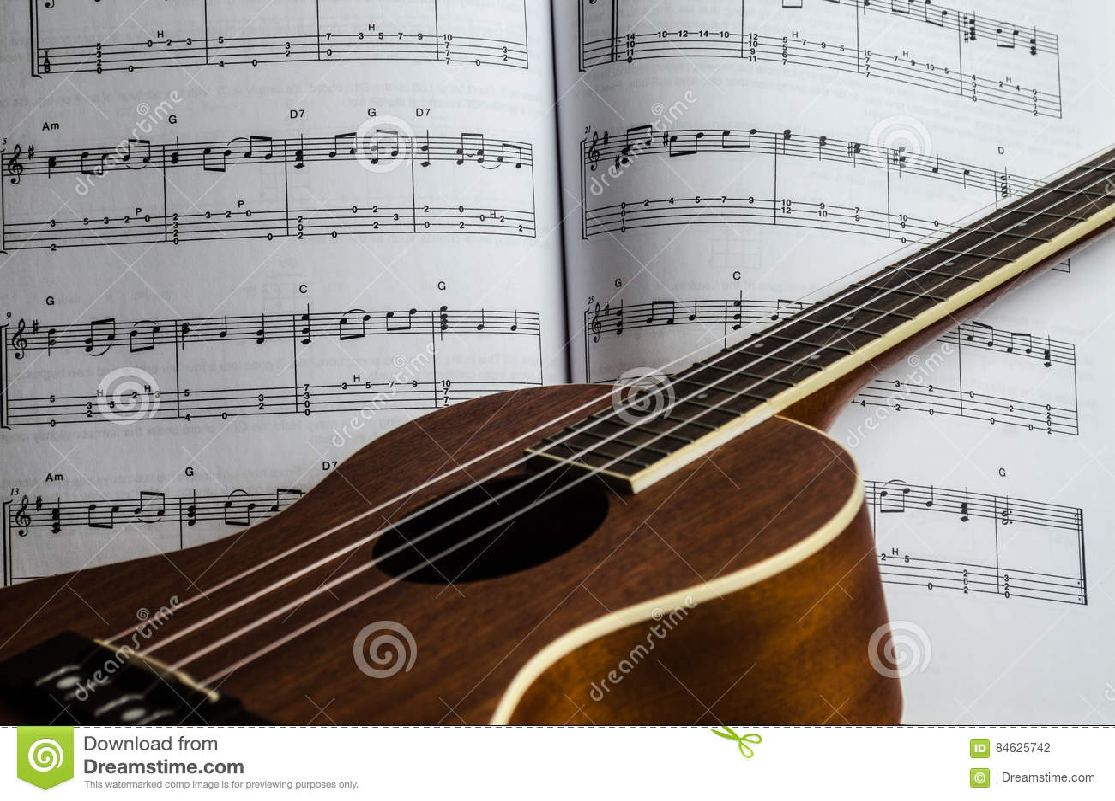 Musique de feuille d ukulélé