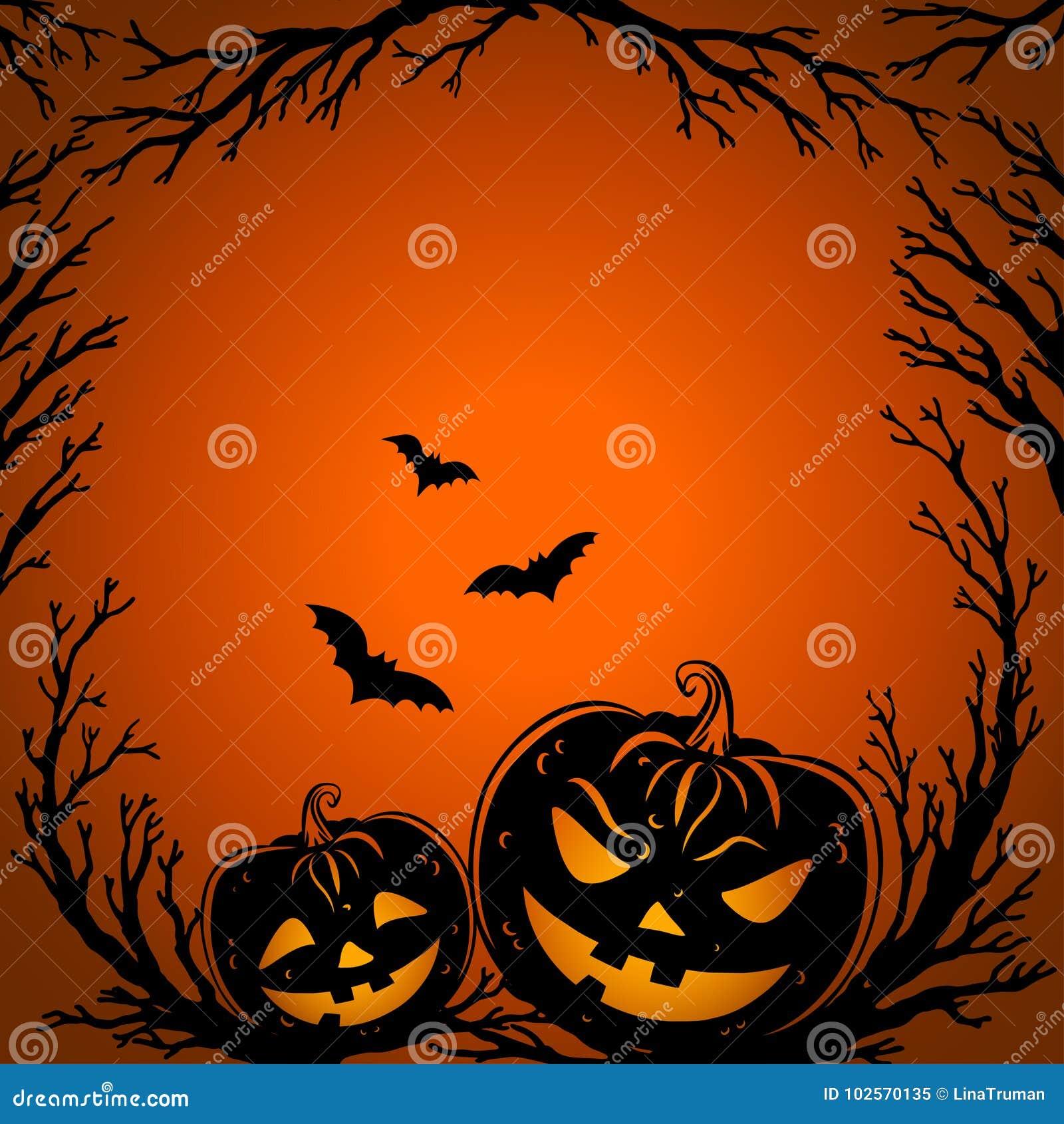 Musique de nuit Brindilles d arbre, battes et lanternes effrayantes de potiron
