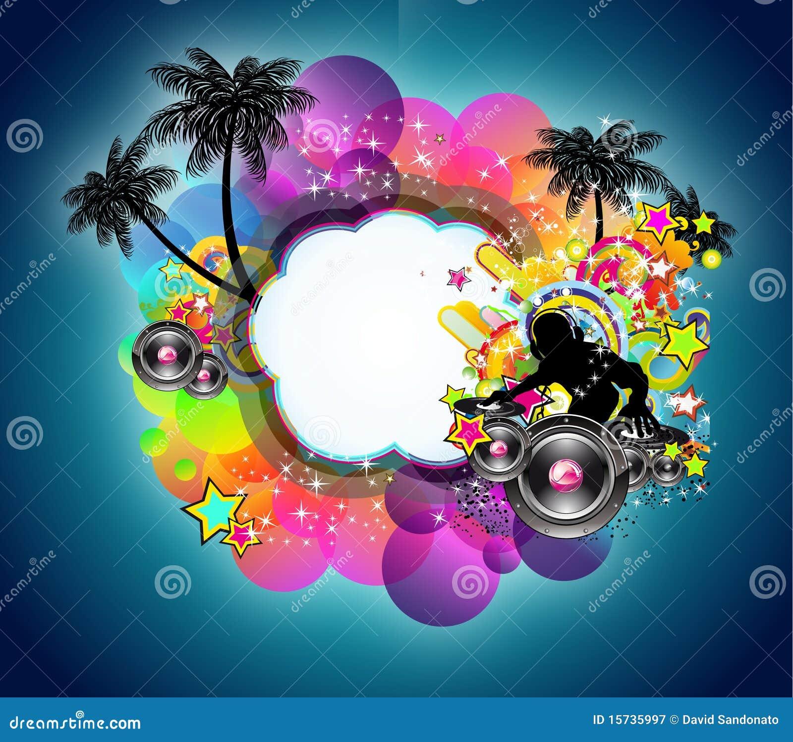 musique tropicale et fond latin de disco illustration de