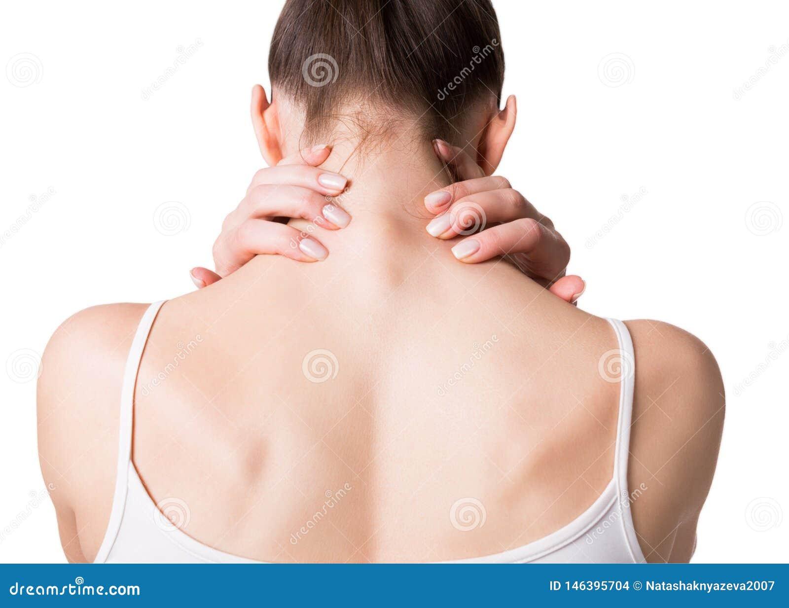 Muskelkrampf-, -hals-, -paralleltrapez- und -schulterschmerz Weibliche Rückseite in der weißen Spitze Frau setzte ihre Finger auf