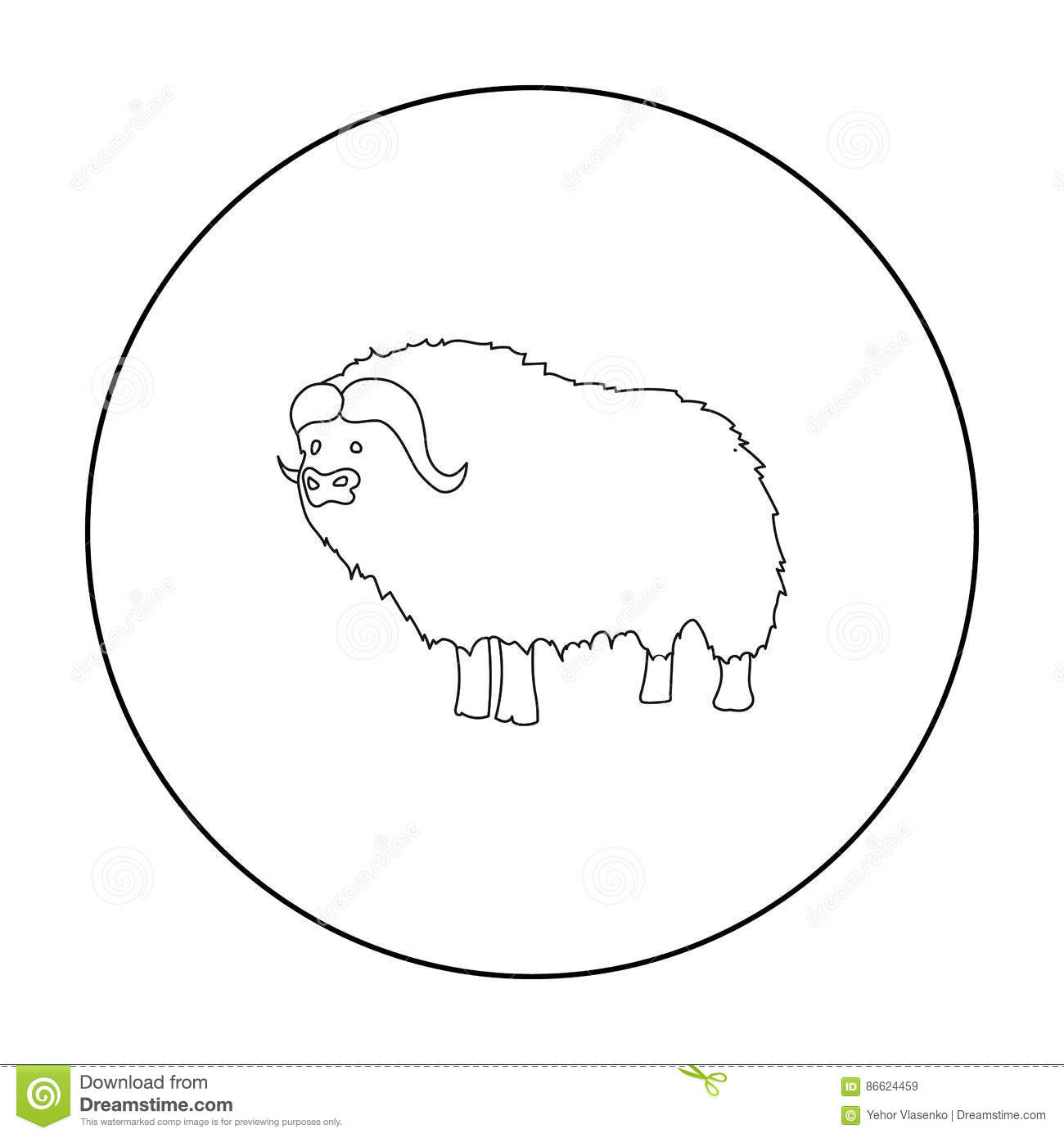 Muskox of stone age icon in outline style isolated on for Decor outline