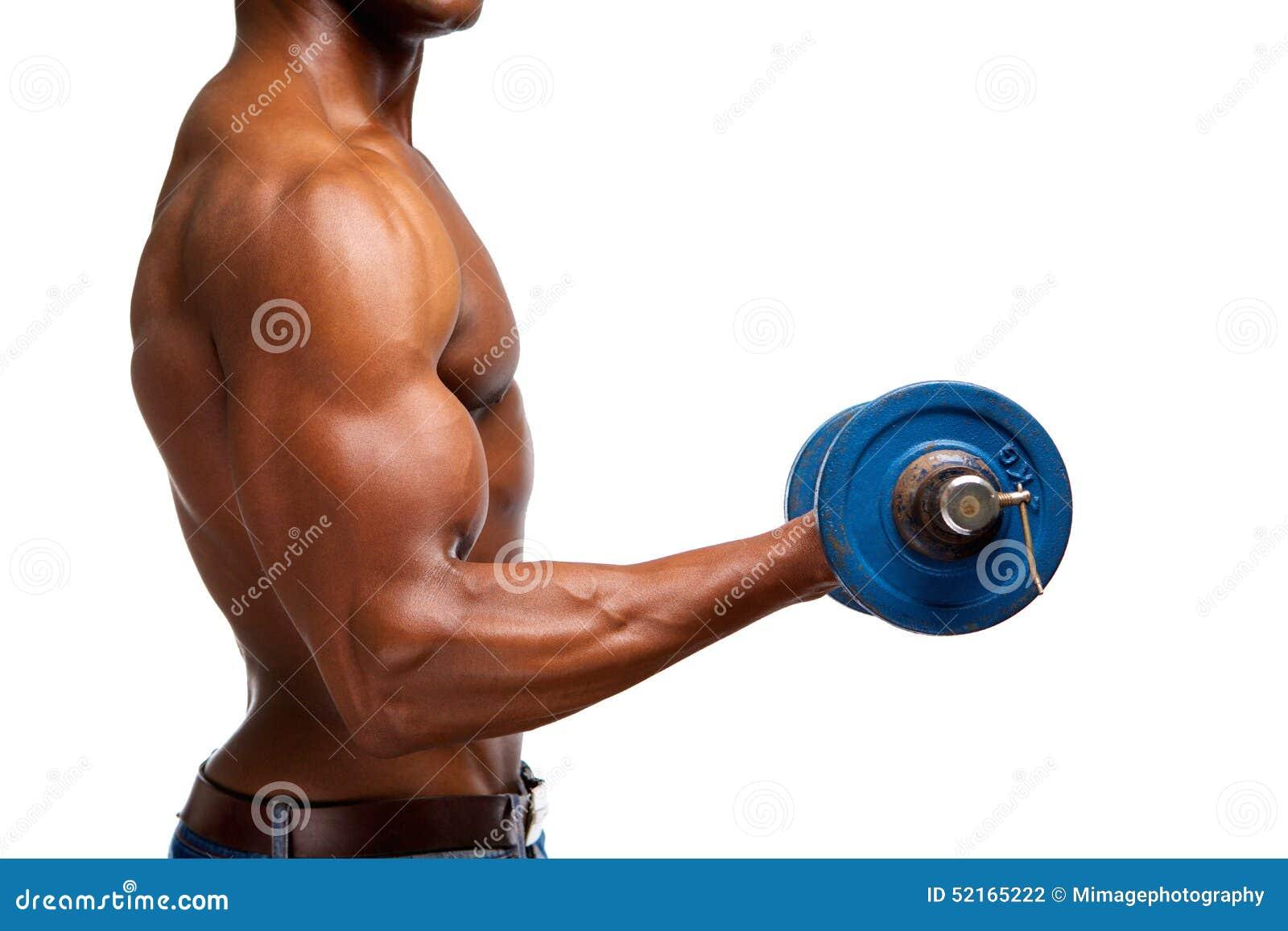 Muskulöse Turnhallengewichts-Bizepsübung Des Schwarzen Mannes ...
