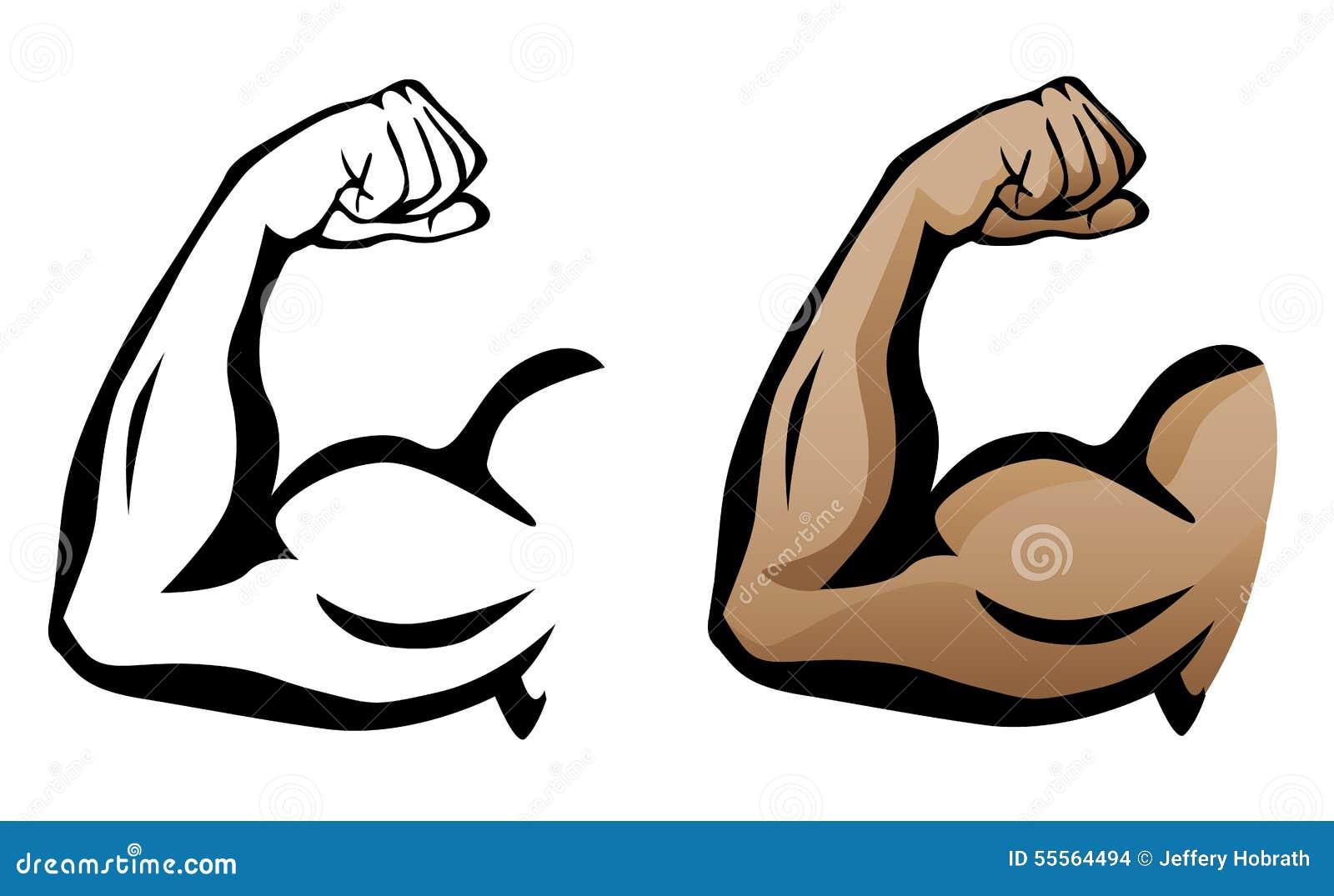 Muskulöser Arm, der Bizeps-Illustration biegt