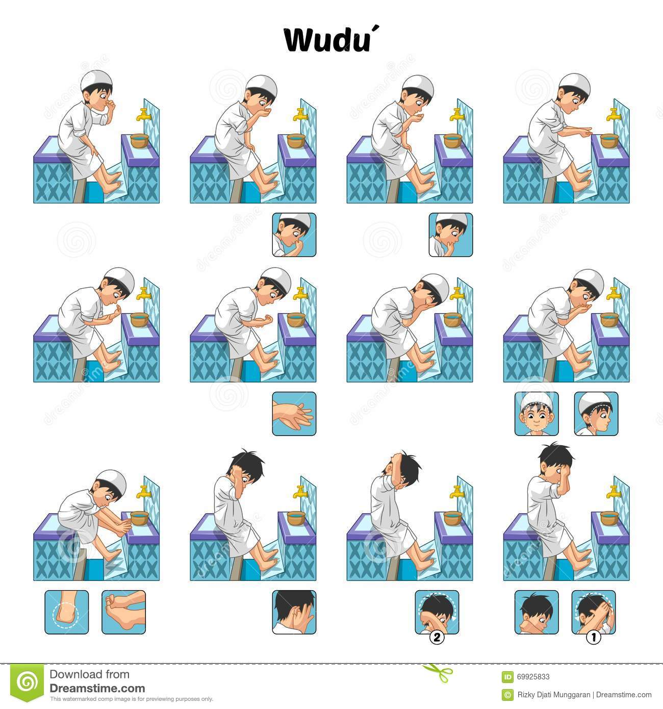 Stock Illustration Muslim Ablution Purification Ritual Guide Step Step Using Water Perform Boy Vector Illustration Image69925833 on Lesson Plans