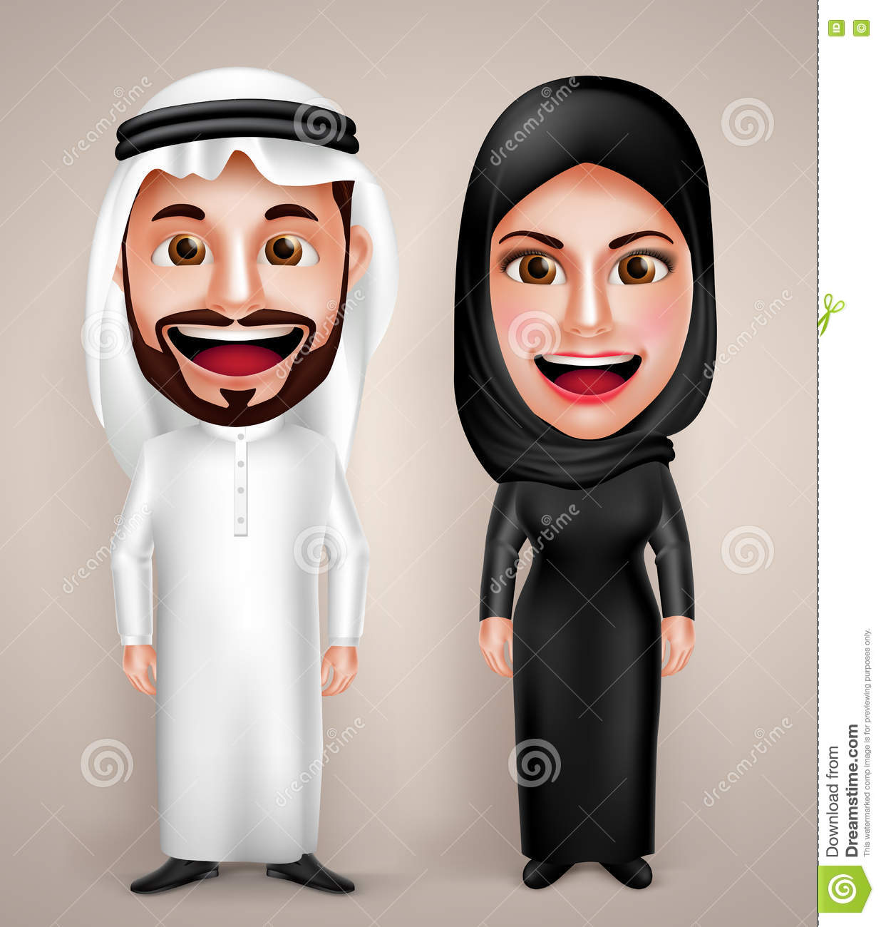 Muslim arab man and woman vector character wearing arabic traditional abaya