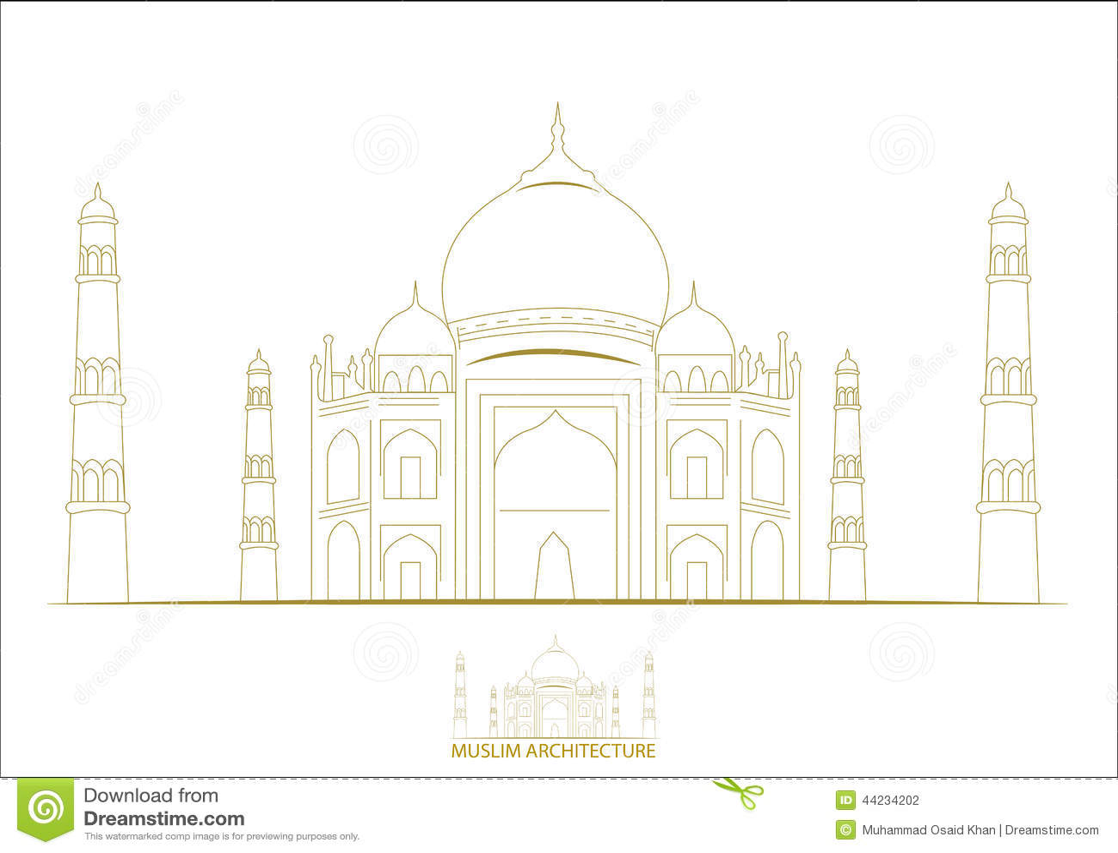 Muslim Architecture Taj Mehal Stock Illustration Image