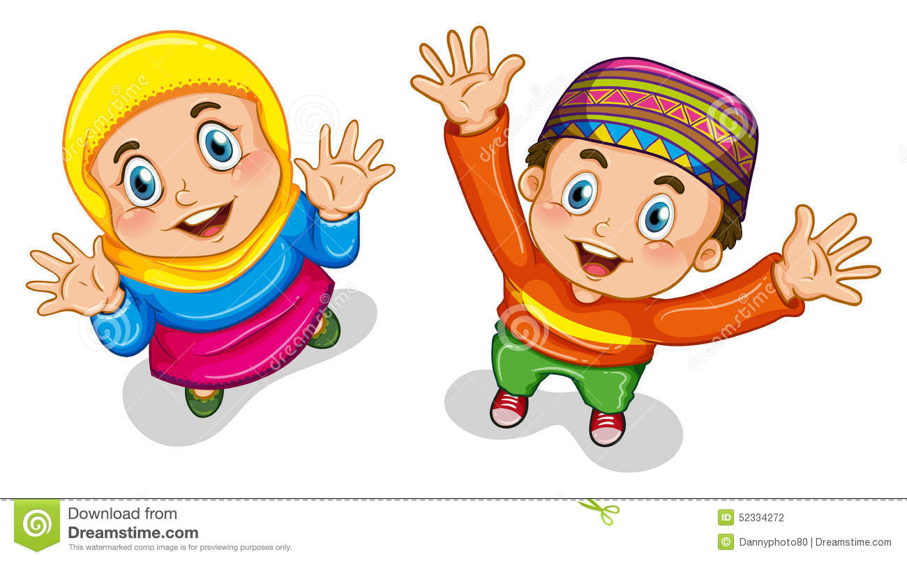 Muslim Boy And Girl Stock Vector Illustration Of Sibling