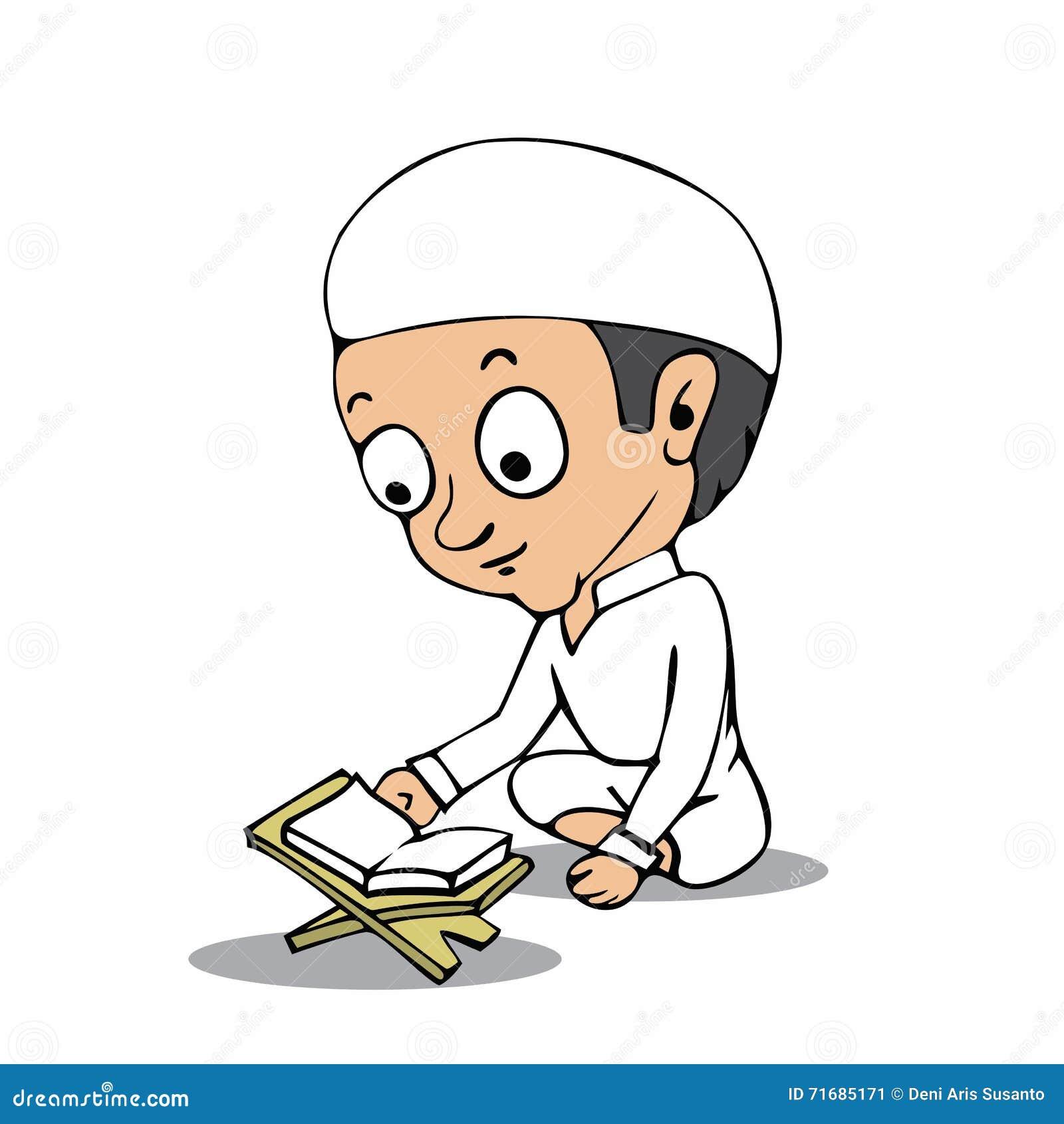 Muslim Boy Read Koran Cartoon Stock Vector - Illustration of