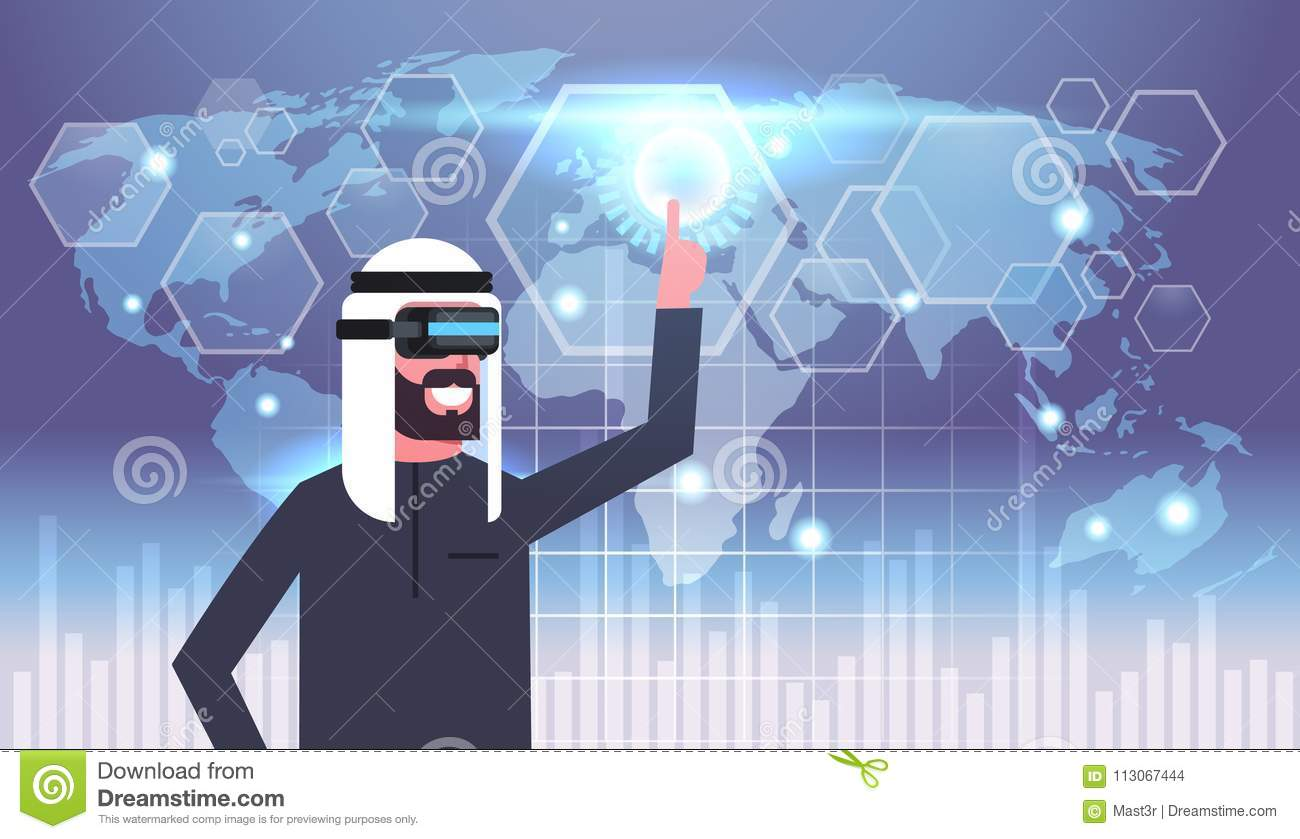 Muslim businessman in vr goggles using user interface with world map map background virtual reality glasses download comp gumiabroncs Choice Image