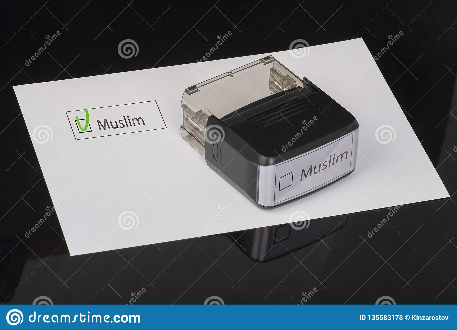 Muslim - checkbox with a cross on white paper with handle Rubber Stamper. Checklist concept