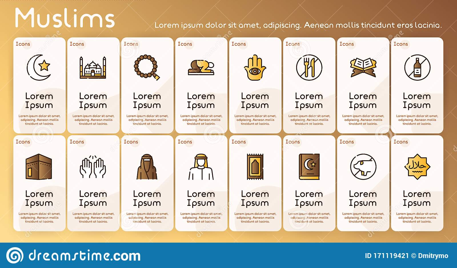 Muslim Color Linear Vector Icons Set Stock Vector Illustration Of Carpet Icon 171119421