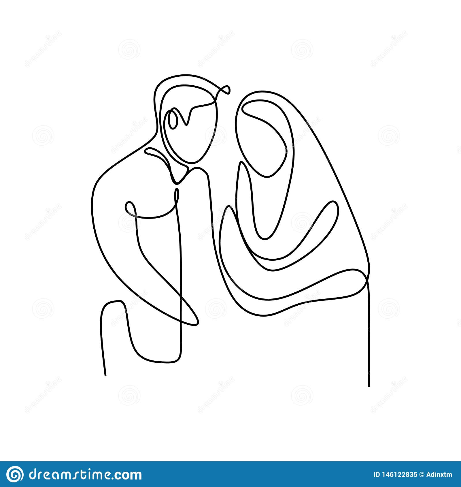 Muslim couple continuous line drawing of a man and girl romantic design minimalism style