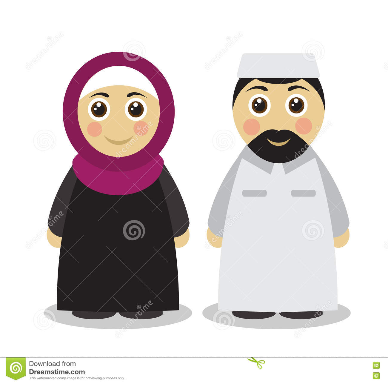 Cartoon Of Muslim Man Woman Greeting Ramadan Stock Vector
