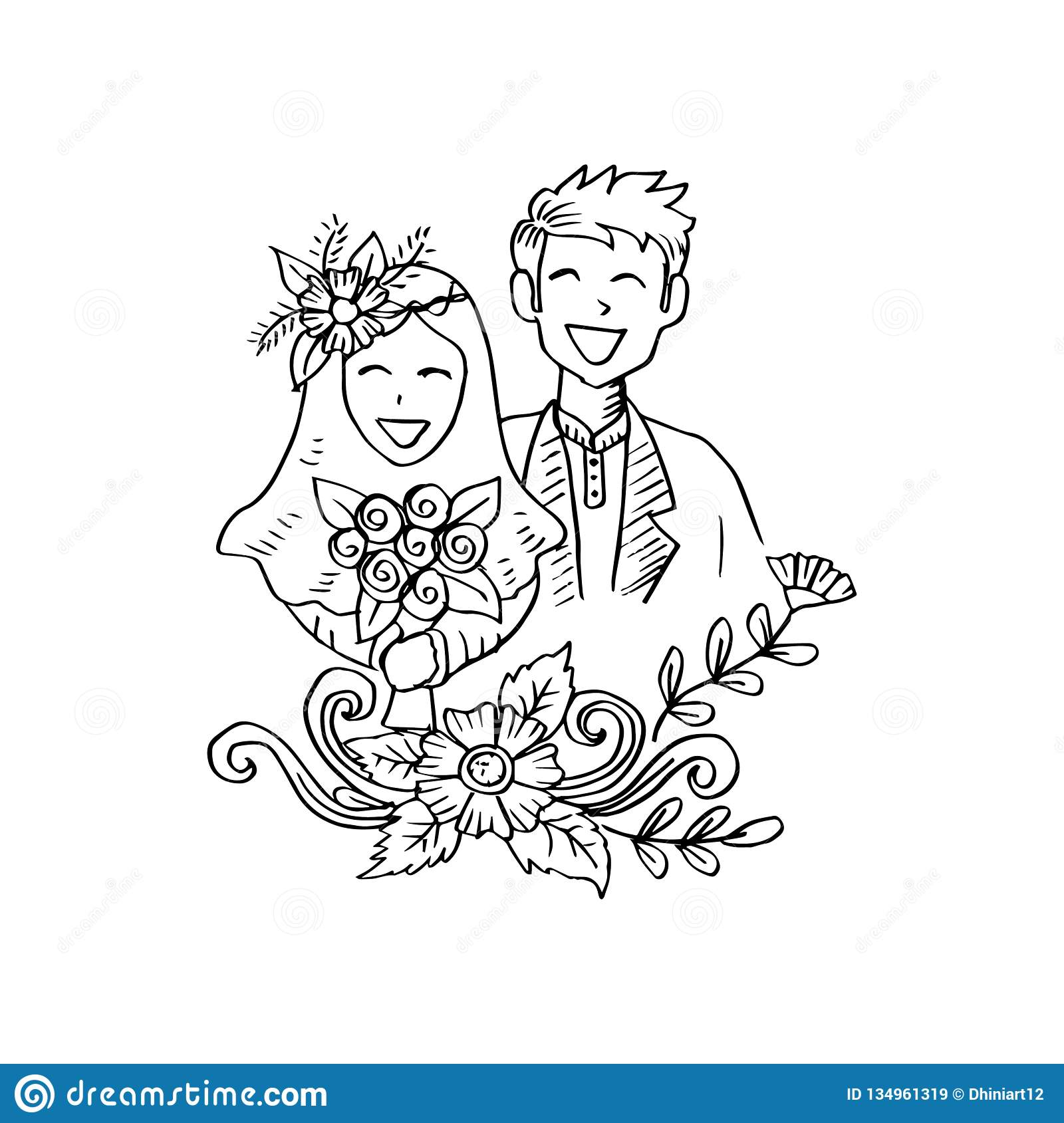 Muslim Couple Image Drawing Black And White