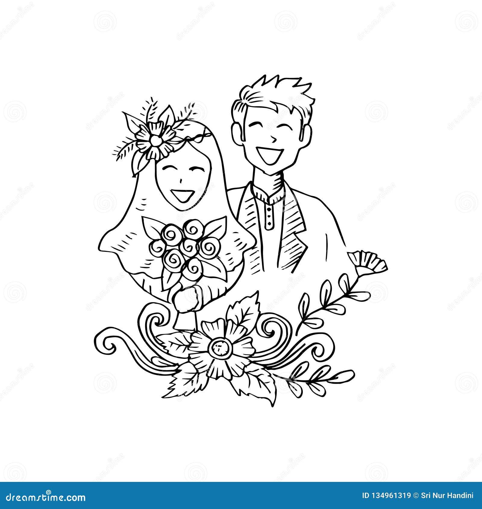Muslim couple wedding card stock illustration