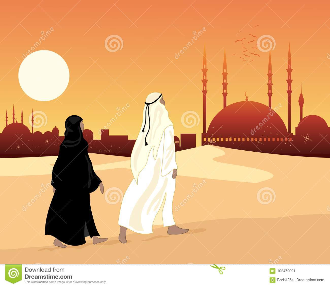 Muslim devotees walking across sand to a Muslim city with mosque at sunset