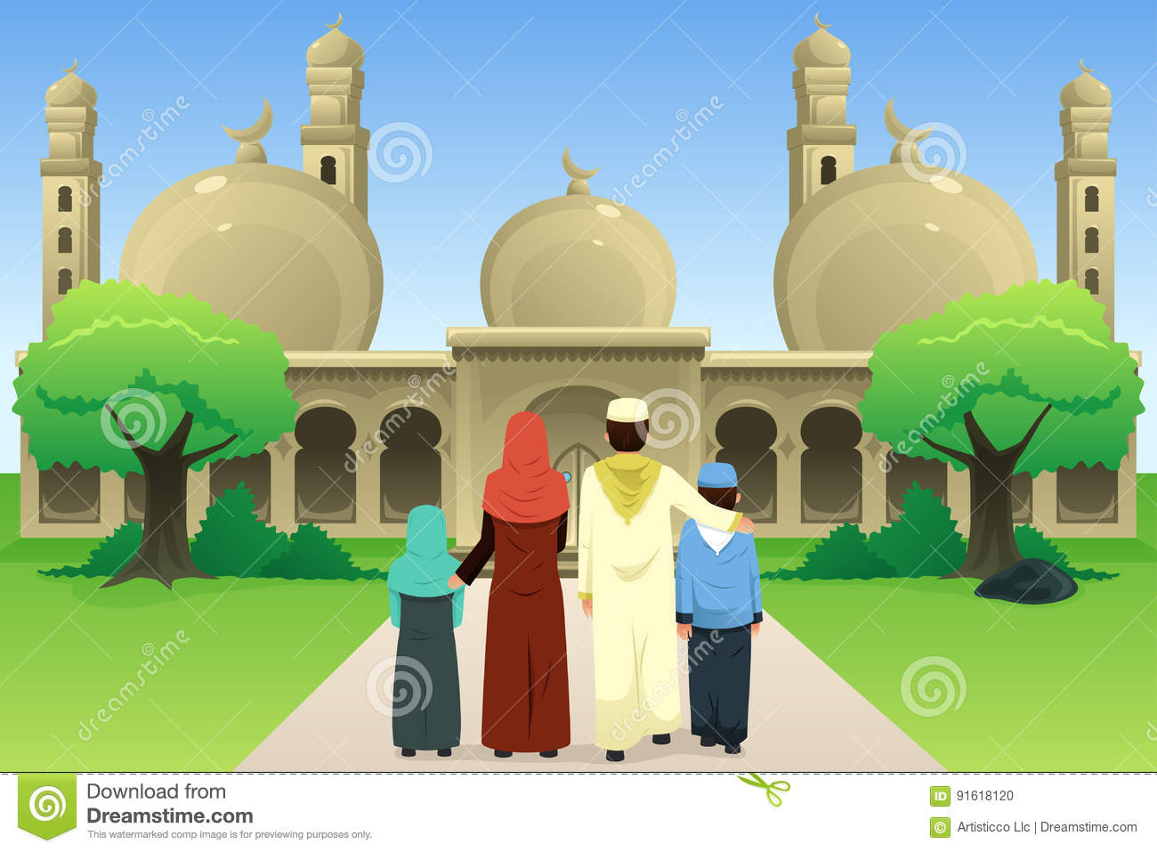 Muslim Family Going to Mosque