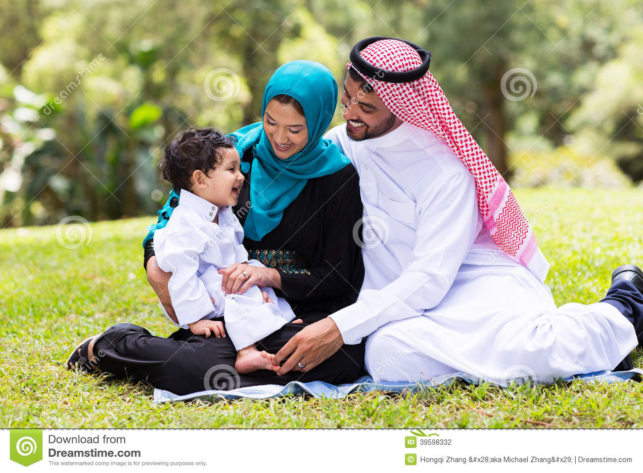 Muslim Family Outdoors Stock Photo - Image: 39598332