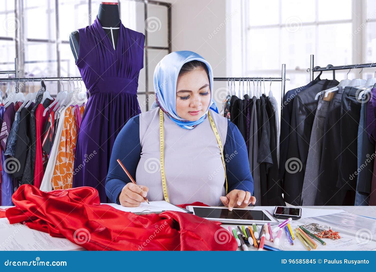 Muslim Fashion Designer Working On Desk Stock Image Image Of Indonesian Digital 96585845