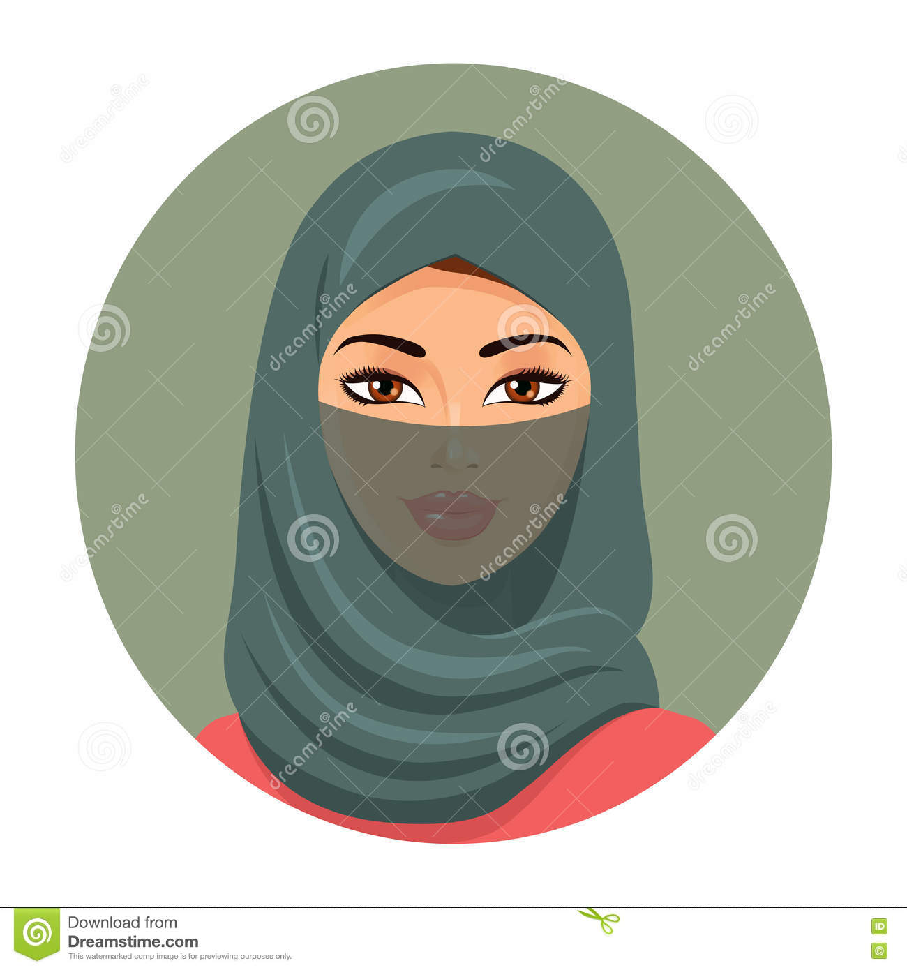 muslim girl in hijab vector illustration cartoon vector