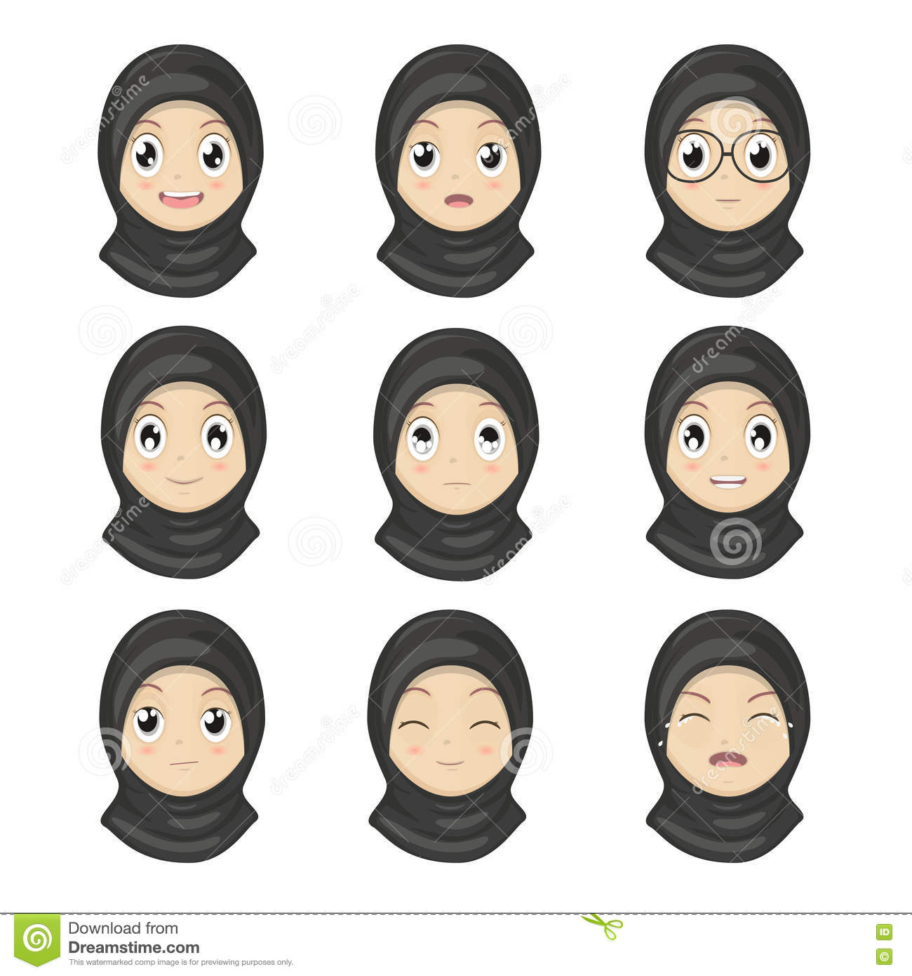 muslim girl emotion faces cartoon women expression faces stock