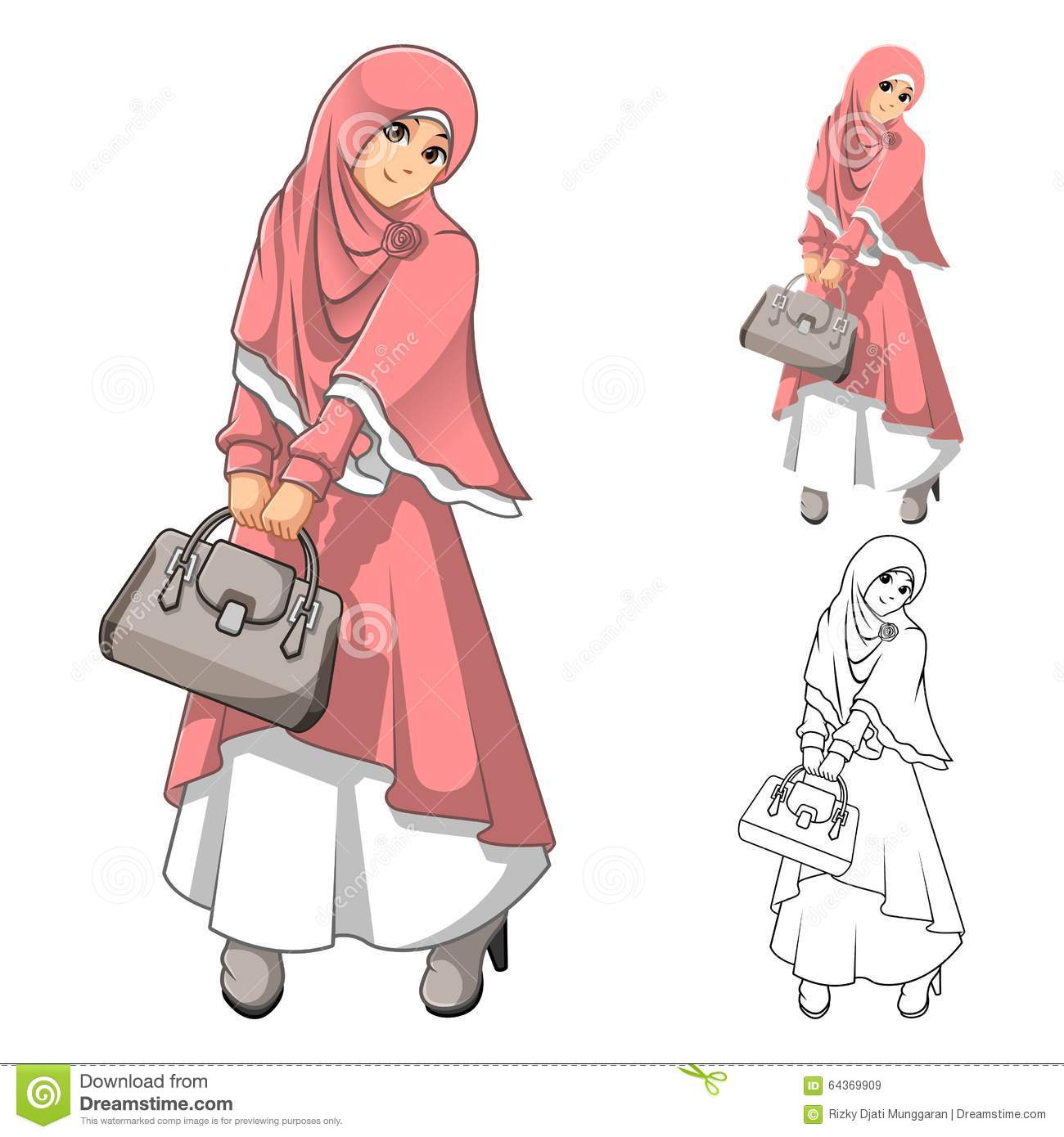 Muslim Girl Fashion Wearing Green Veil or Scarf with Yellow Jacket and Boots