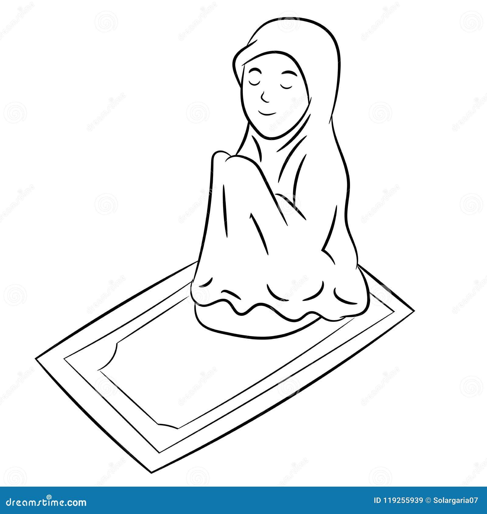 Muslim Girl Praying Hand Drawn Vector Illustration Stock