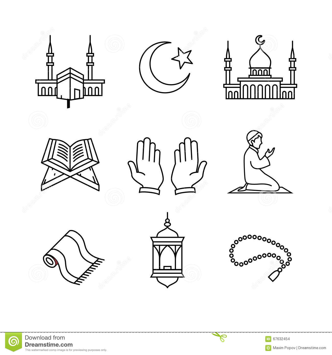 Line Art Icons : Muslim islam prayer and ramadan kareem stock vector
