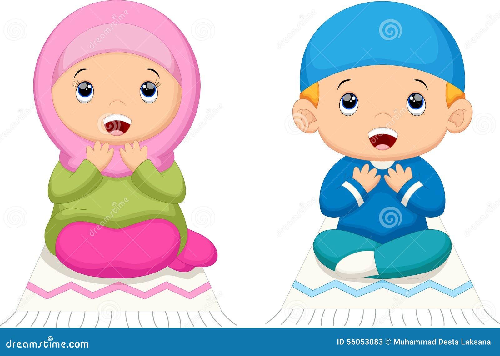muslim kid praying stock illustration image 56053083 boy and girl praying clipart Black Woman Praying Clip Art