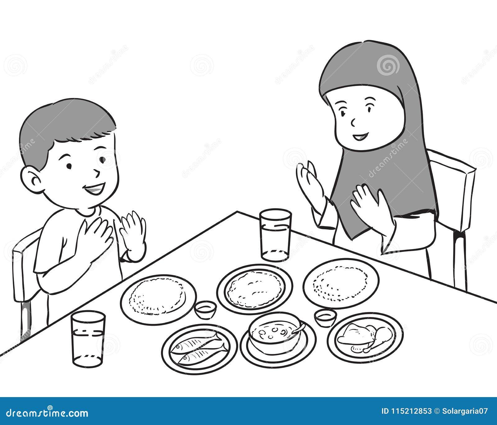 Muslim Kids having meal