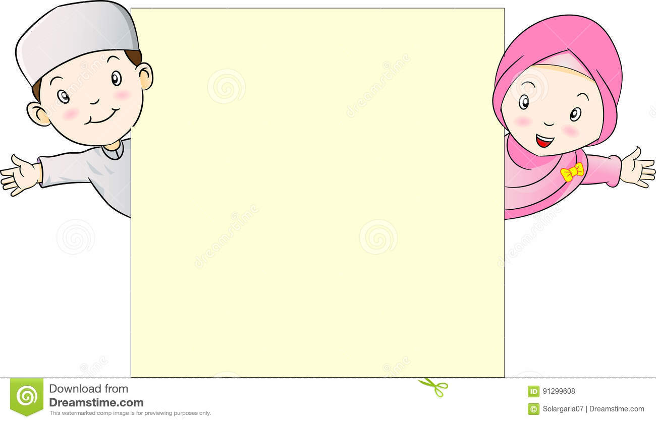 Muslim Kids Holding Empty Blank Board-vector Illustration