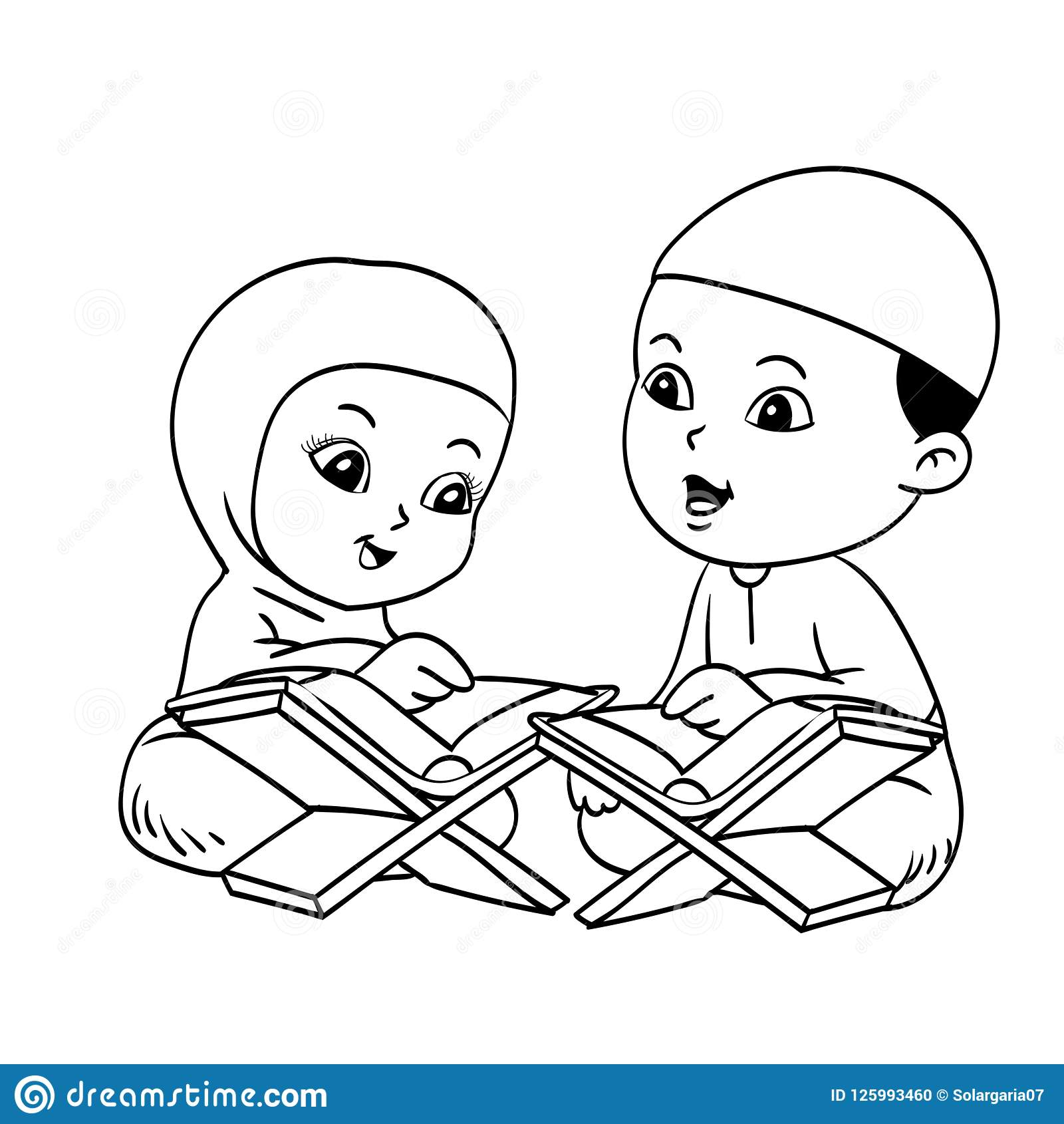 Muslim Kids Learnig Quran Hand drawn Illustration